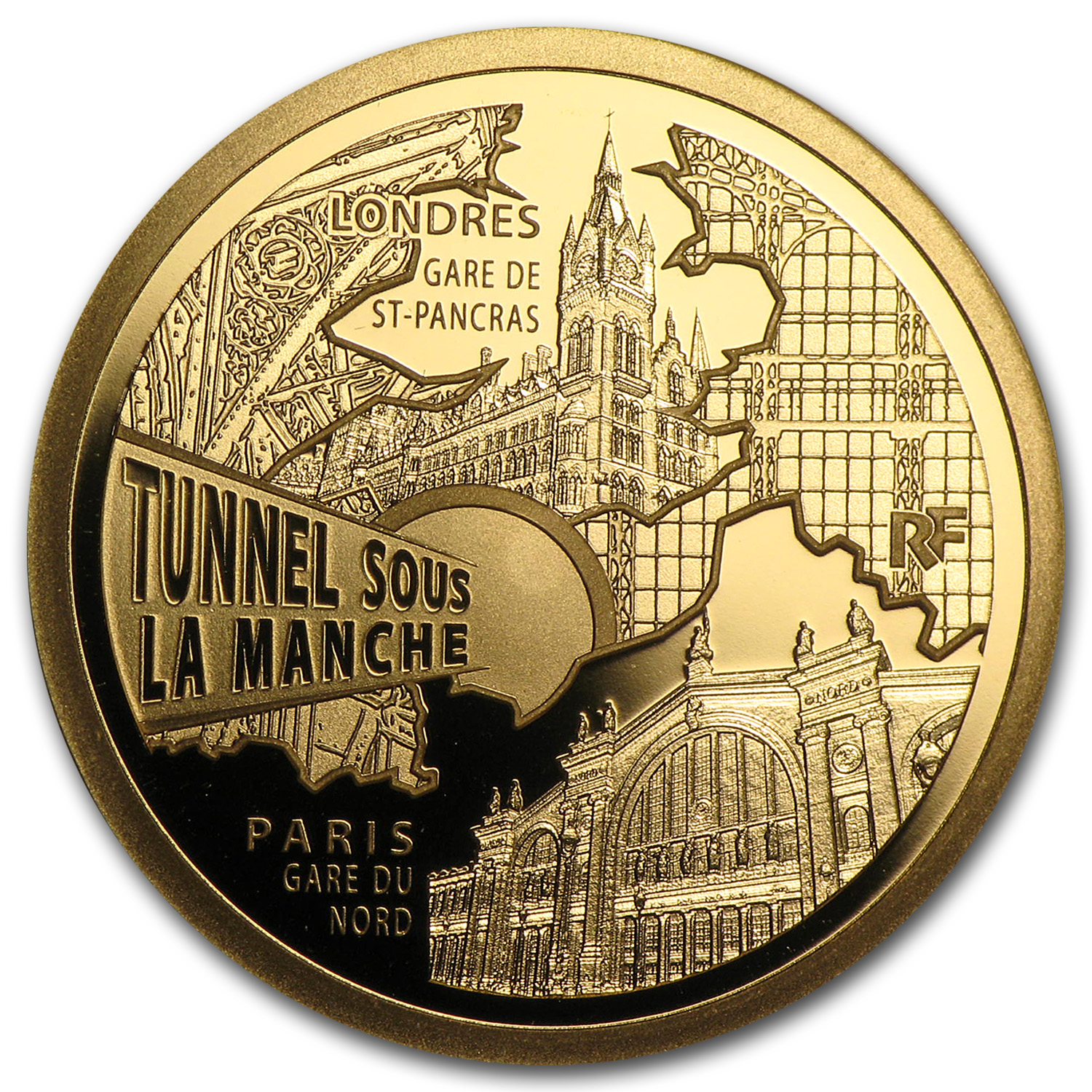 2013 France 1/4 oz Proof Gold Trains and Stations Channel Tunnel