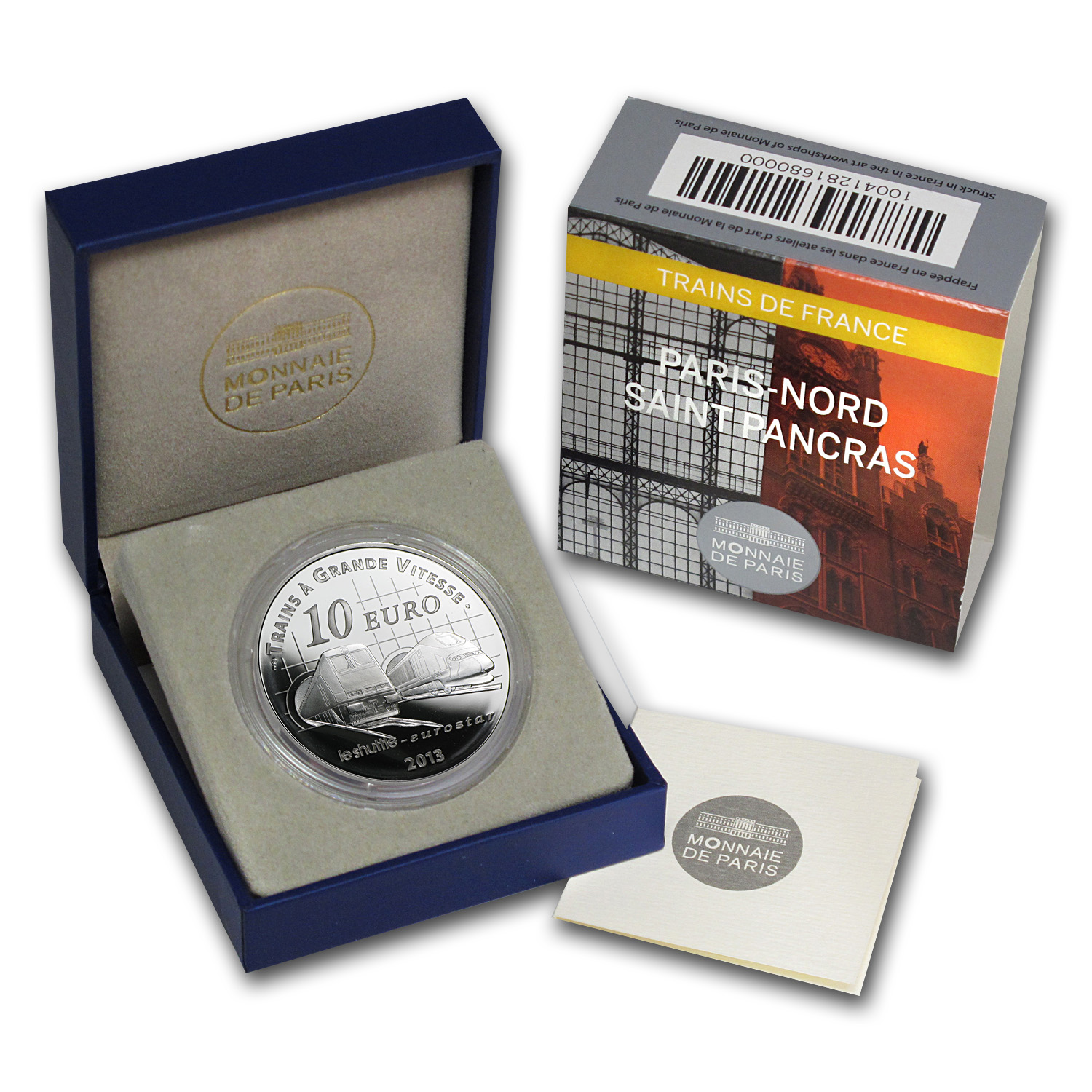 2013 Silver €10 Proof - Trains and Stations - Channel Tunnel