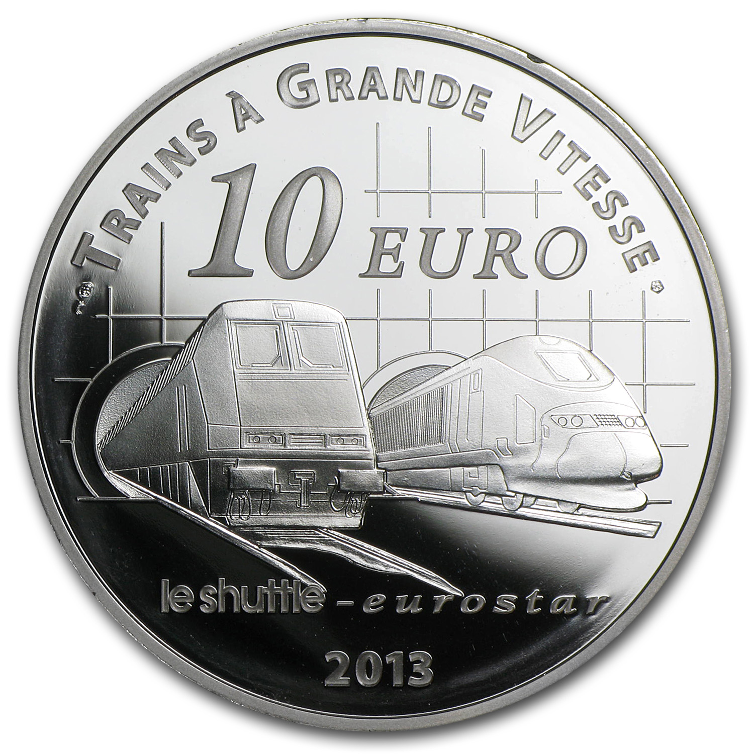 2013 France Silver €10 Trains and Stations Proof (Channel Tunnel)
