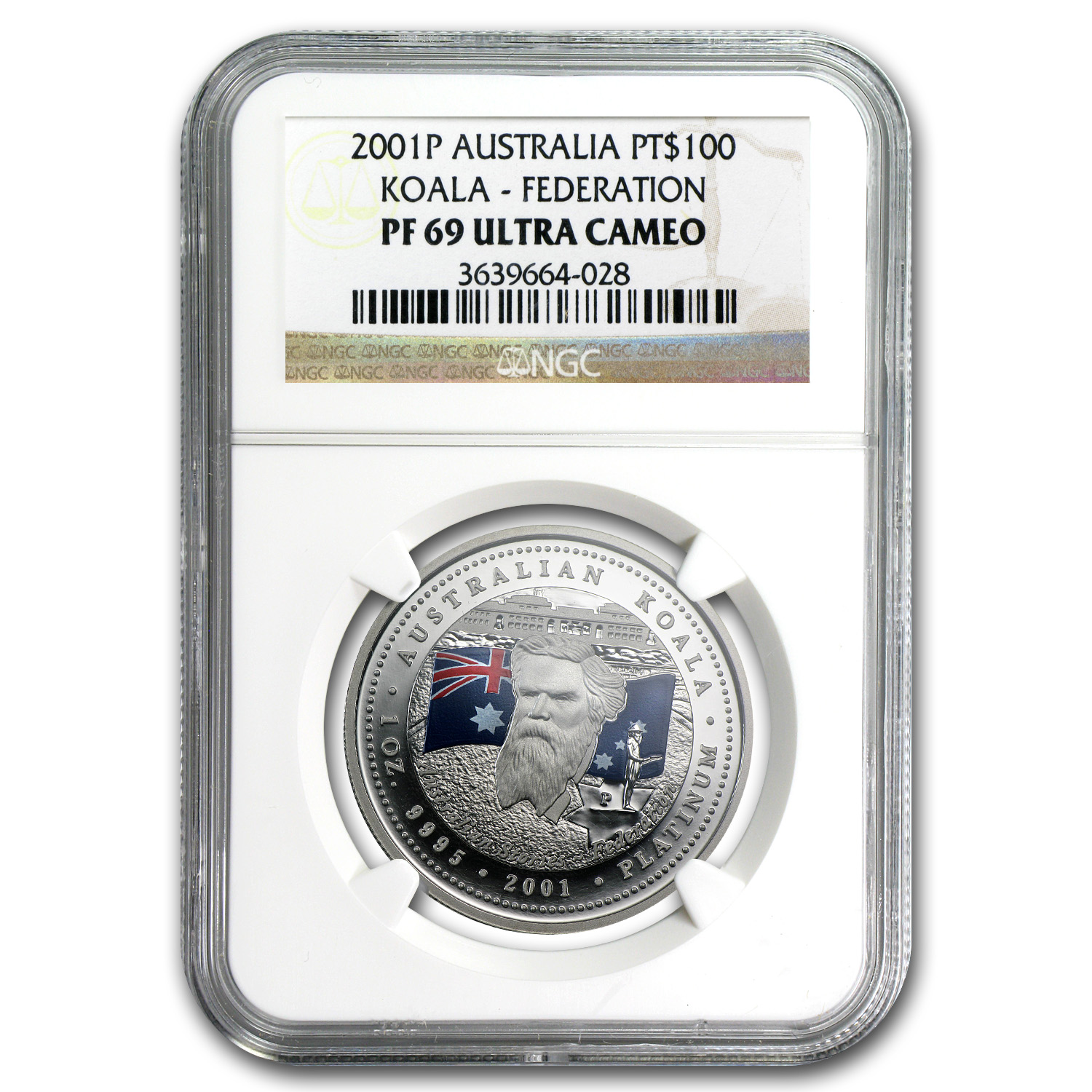 2001 1 oz Proof Australian Platinum Koala PF-69 NGC (Federation)