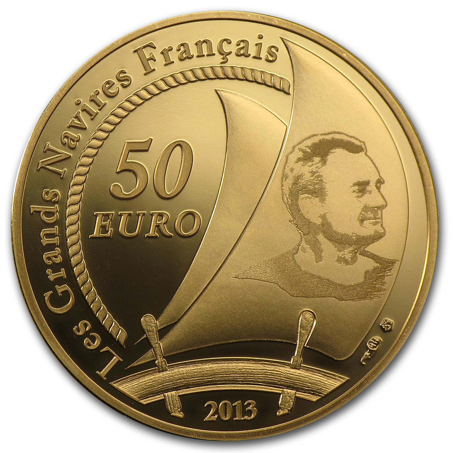 2013 1/4 oz Gold €50 Proof Great French Ships - Pen Duick