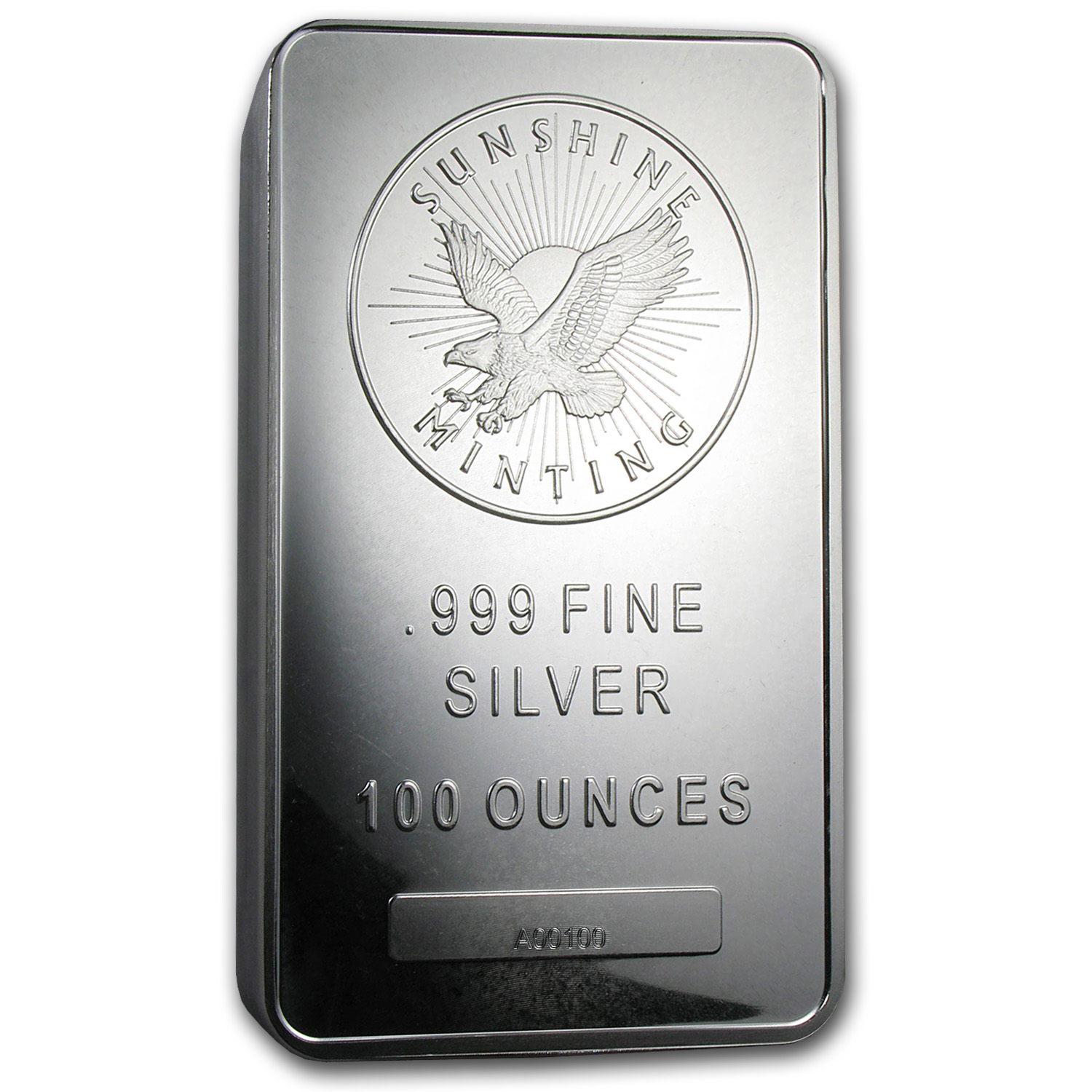 100 oz Silver Bar - Sunshine (V2, First 100 Bars ever)