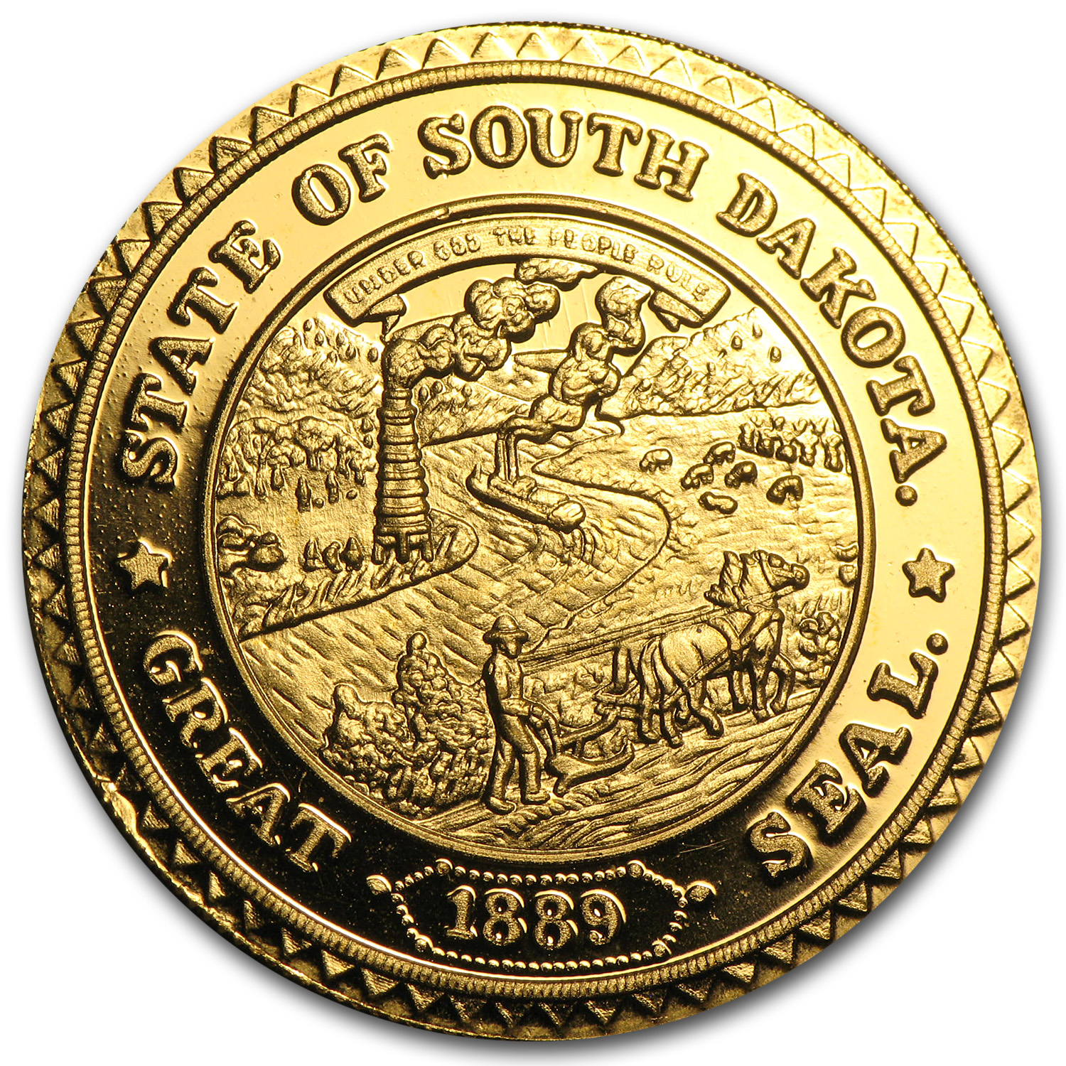 1/2 oz Gold Rounds - The Great Seal of South Dakota