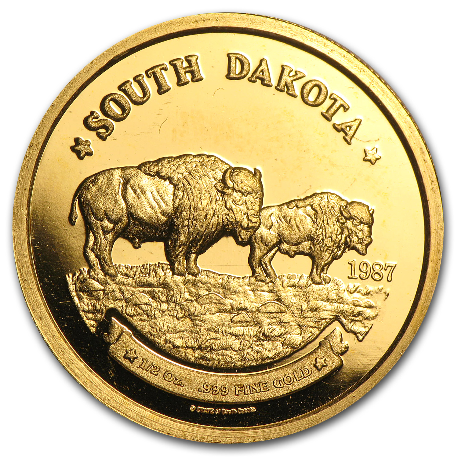 1/2 oz Gold Round - The Great Seal of South Dakota