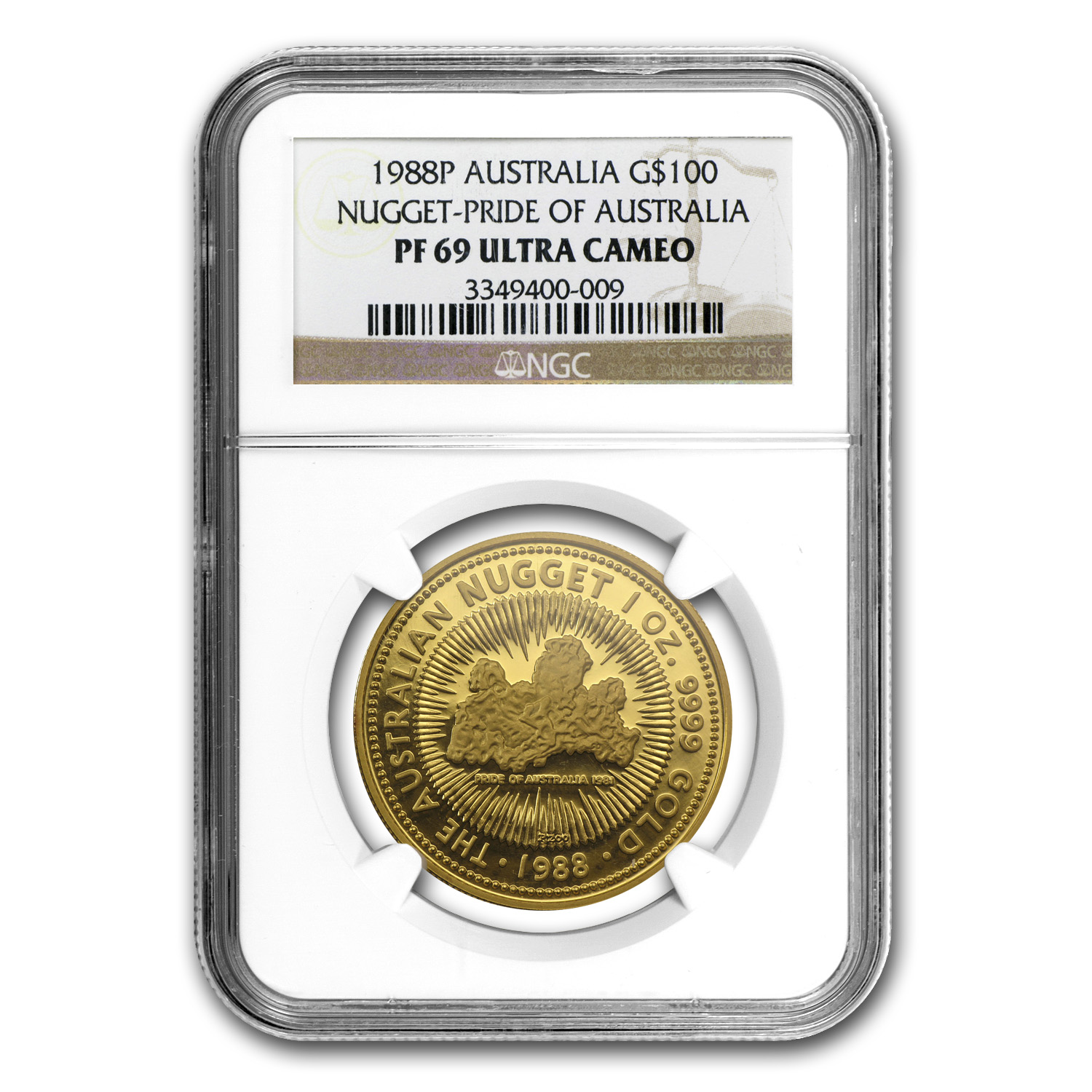 1988 1 oz Australian Proof Gold Nugget NGC PF-69