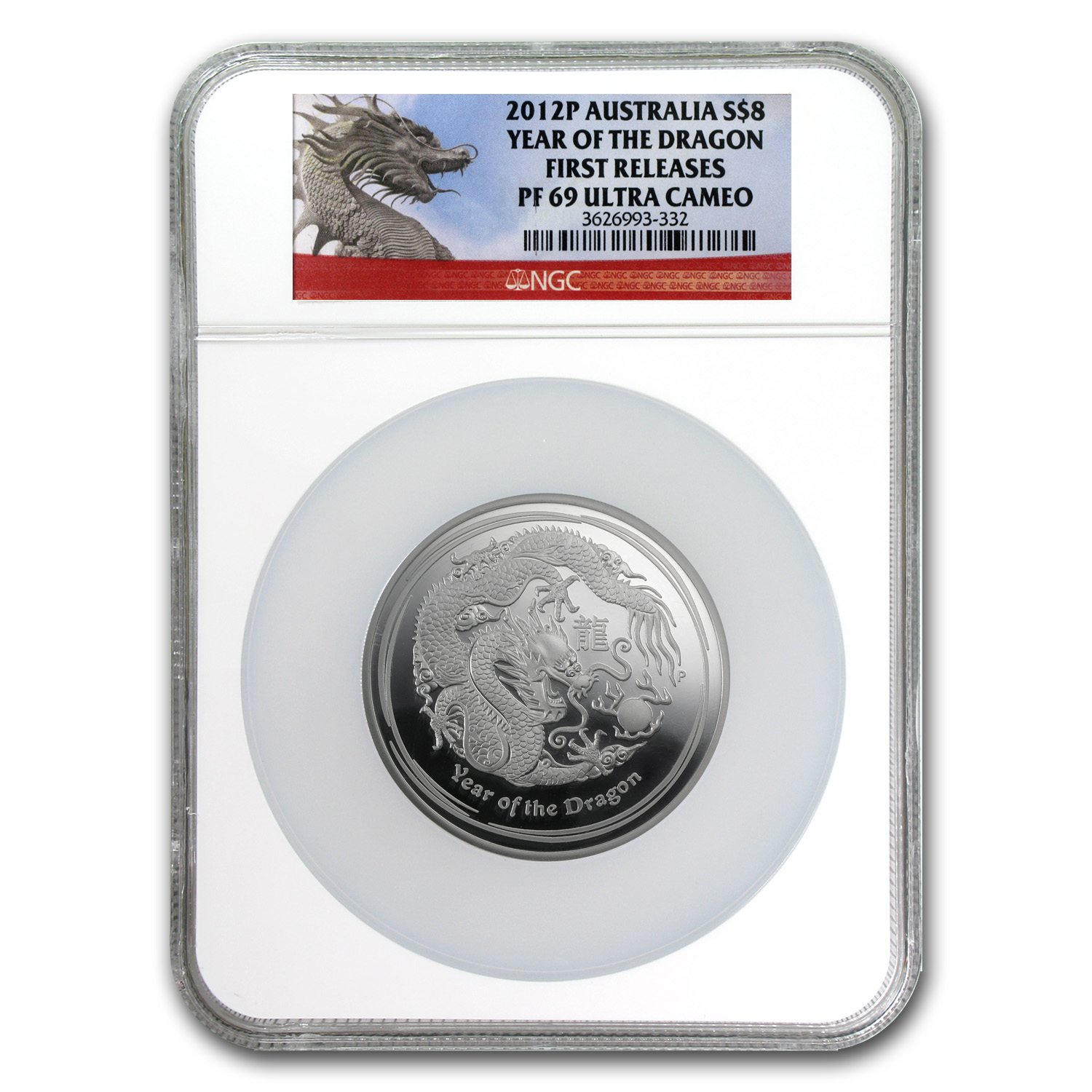 2012 Australia 5 oz Silver Year of the Dragon PF-69 NGC