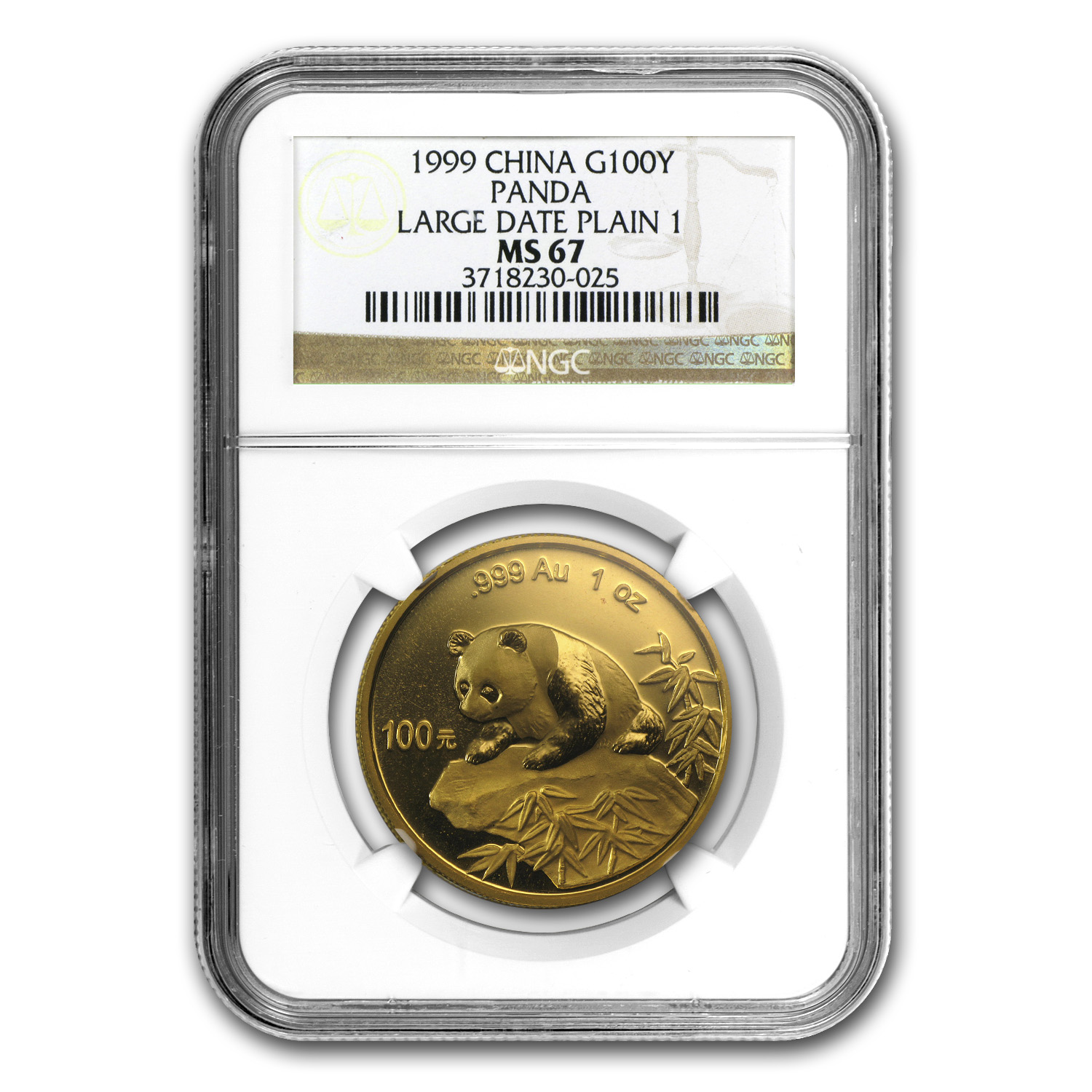 1999 China 1 oz Gold Panda Large Date/Plain 1 MS-67 NGC