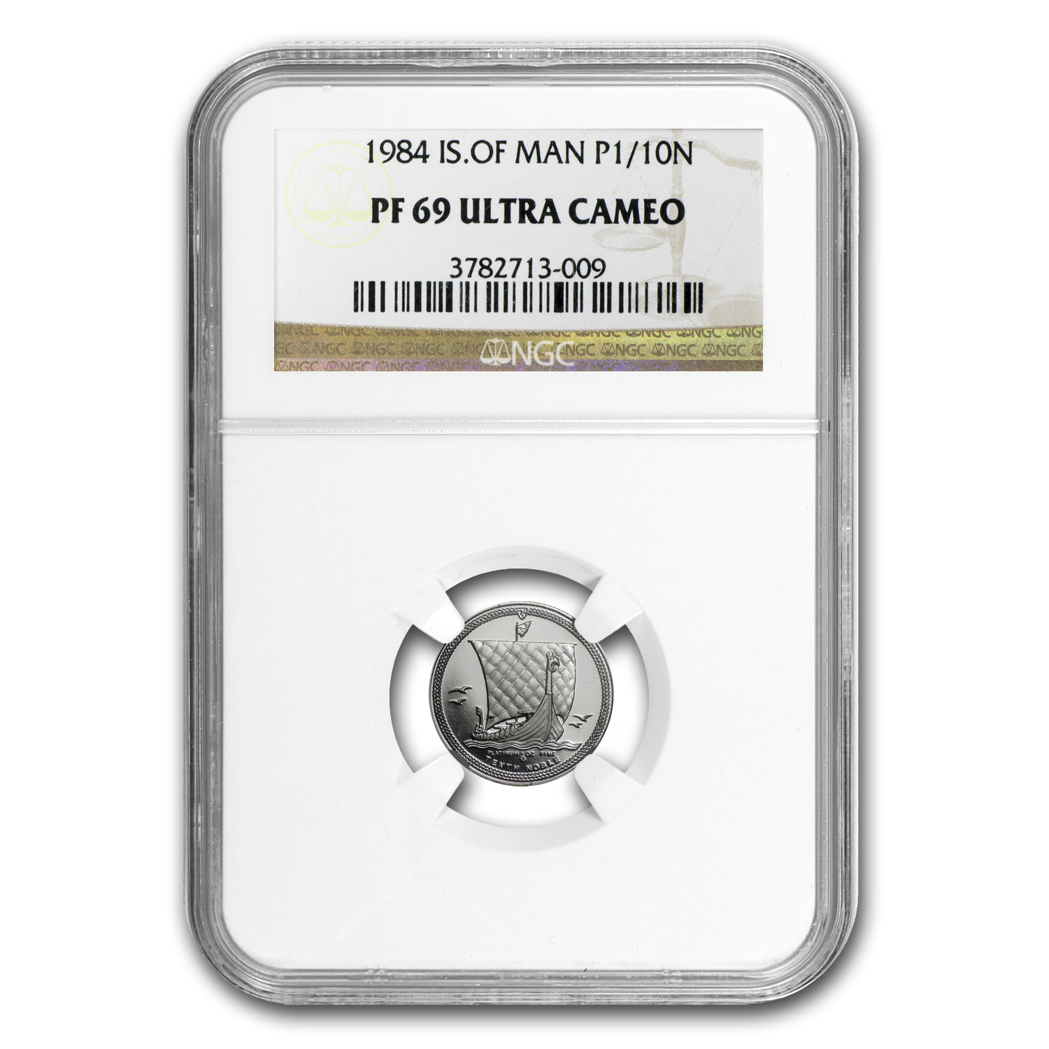 1984 1/10 oz Isle of Man Platinum Noble (PF-69 UCAM NGC)