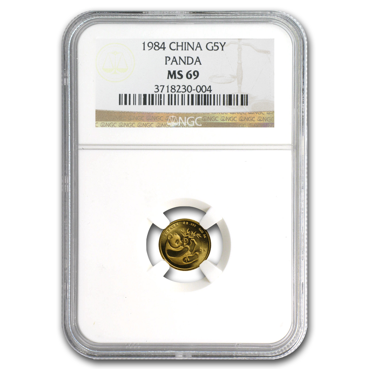 1984 China 1/20 oz Gold Panda MS-69 NGC