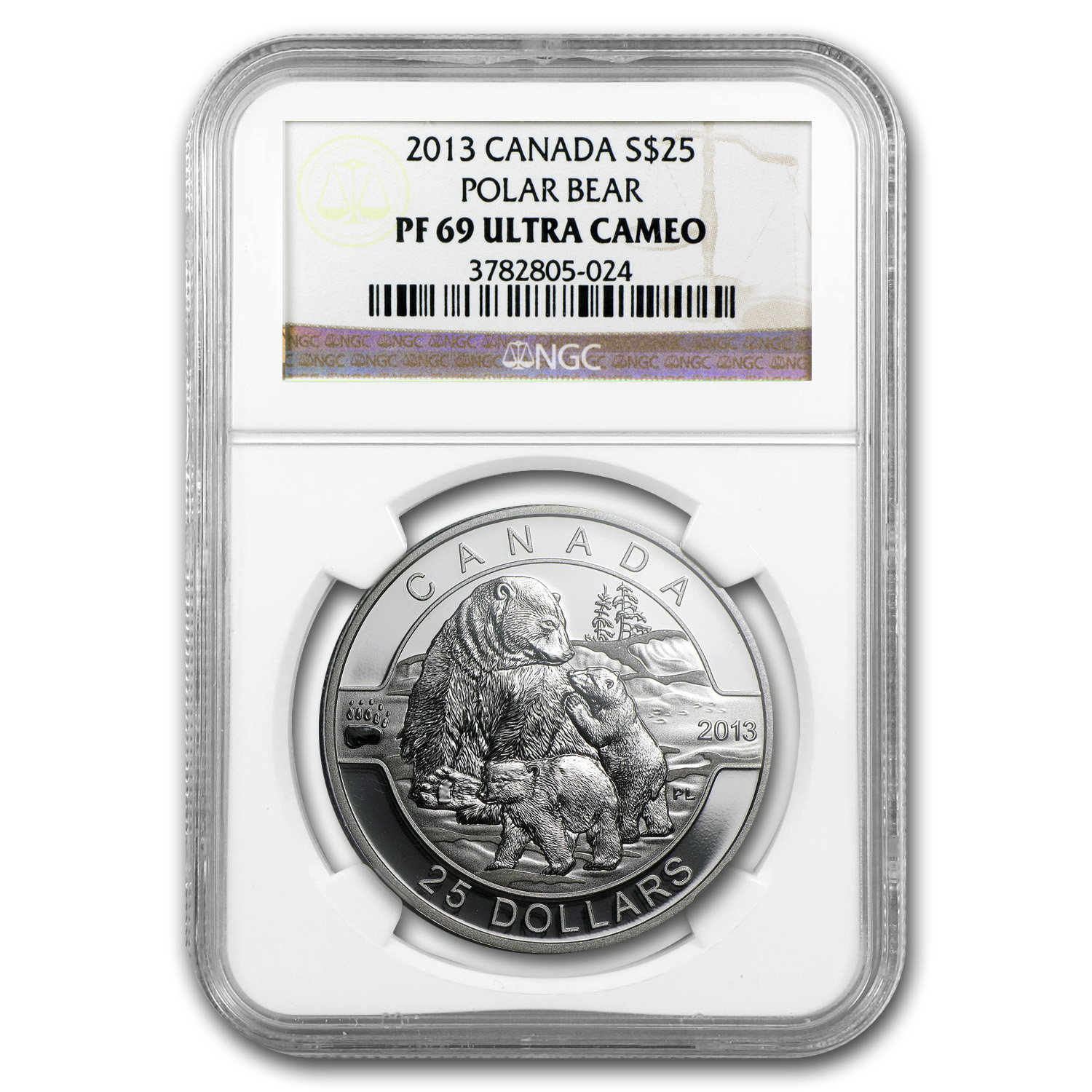 2013 1 oz Silver Canadian $25 The Polar Bear Family PF-69 NGC