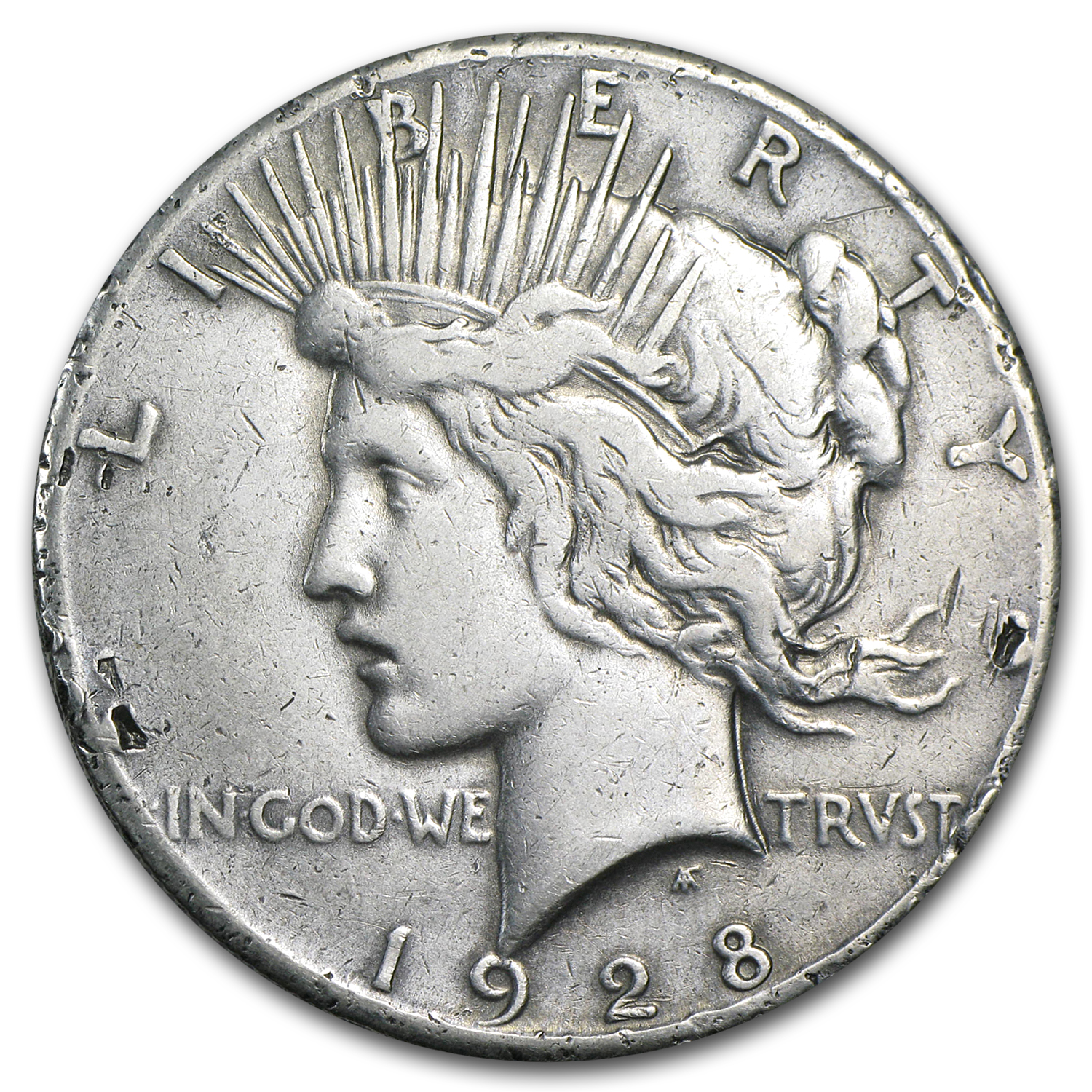 1928 Peace Dollar VF Details (Rim Nicks)