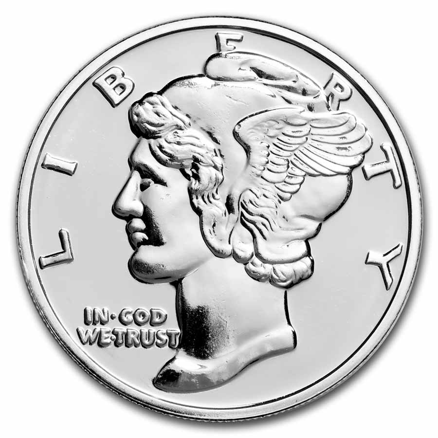 1 oz Silver Round - Mercury Head Dime (Replica)