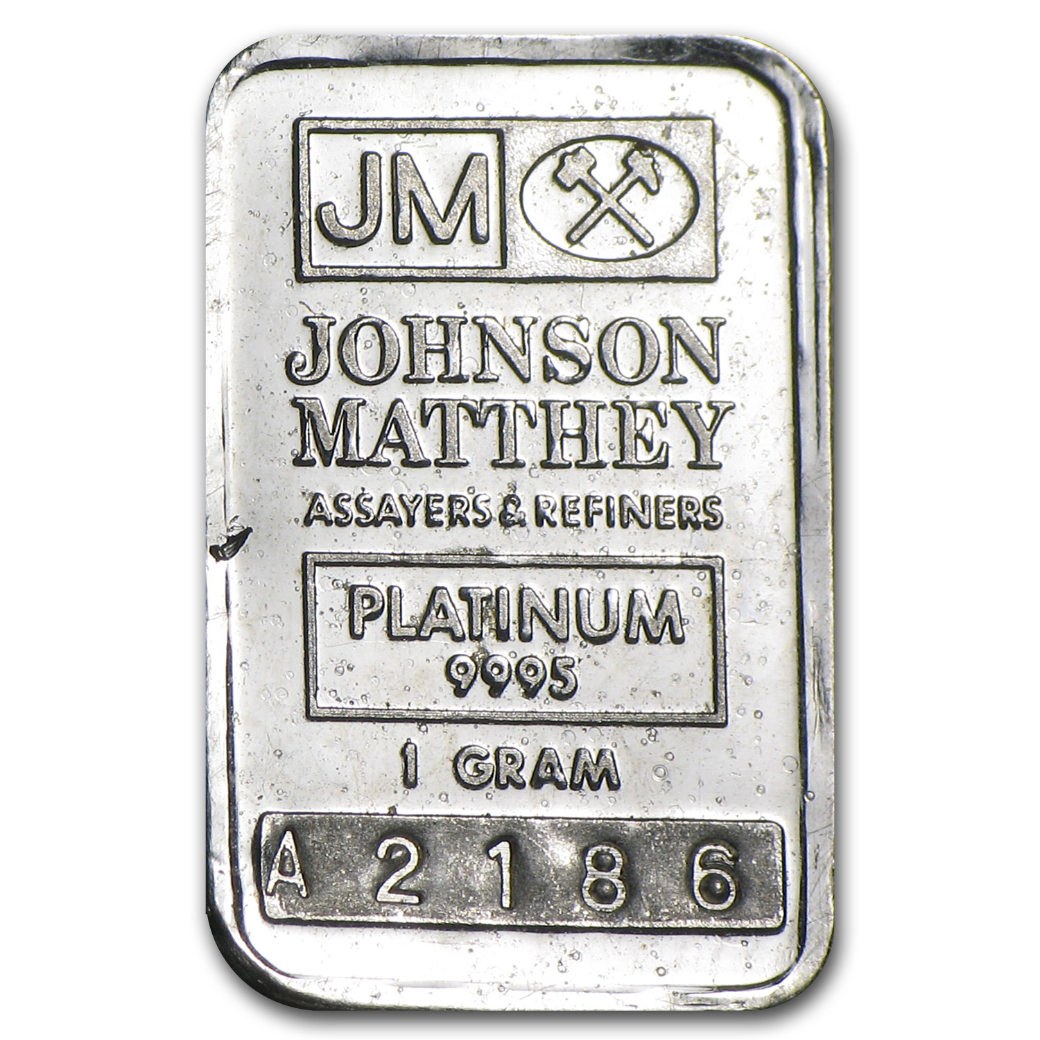 1 gram Platinum Bar - Johnson Matthey (.9995 Fine)