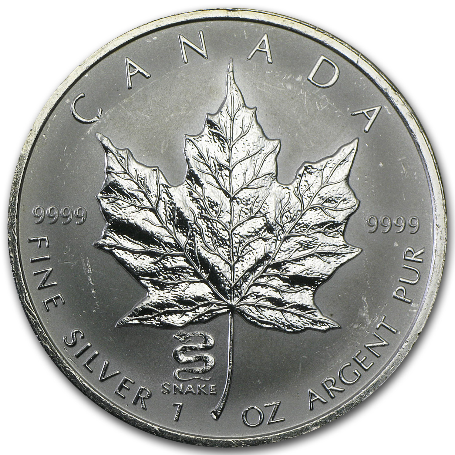 2001 1 oz Silver Maple Leaf Lunar Snake Privy (Abrasions, Spots)