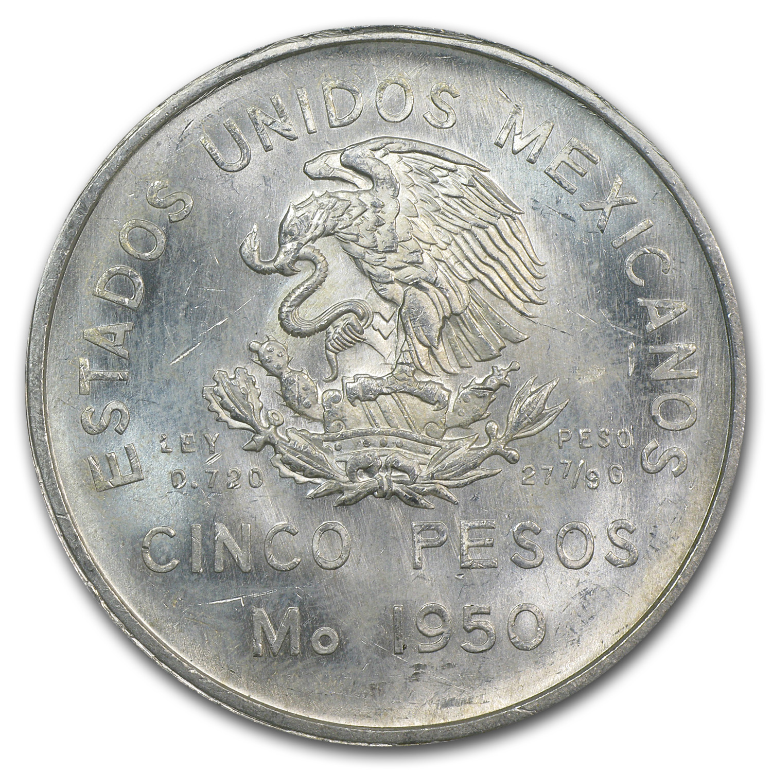 1950 Silver Mexican 5 Pesos Southern Railroad MS-65 PCGS