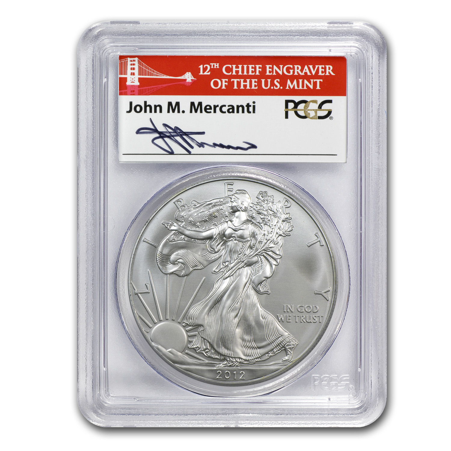 2012 (S) Silver American Eagle MS-70 PCGS (Golden Gate, Mercanti)