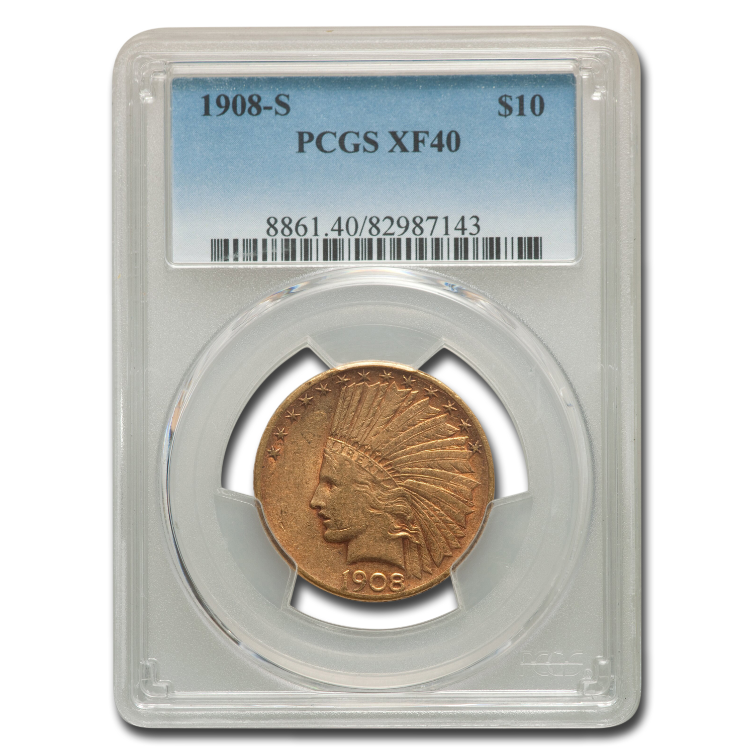 1908-S $10 Indian Gold Eagle - XF-40 PCGS