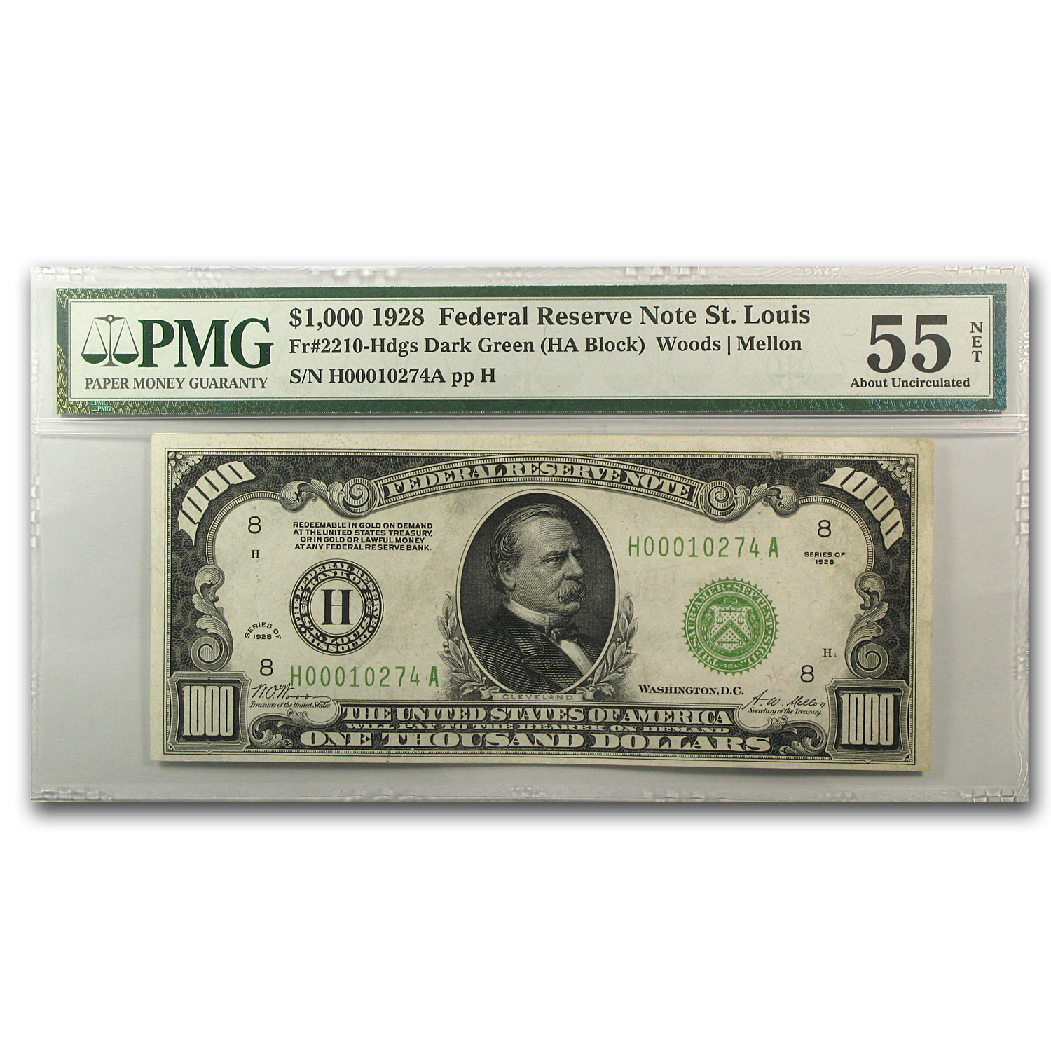 1928 (H-St. Louis) $1,000 FRN PMG About Uncirculated 55 Net)
