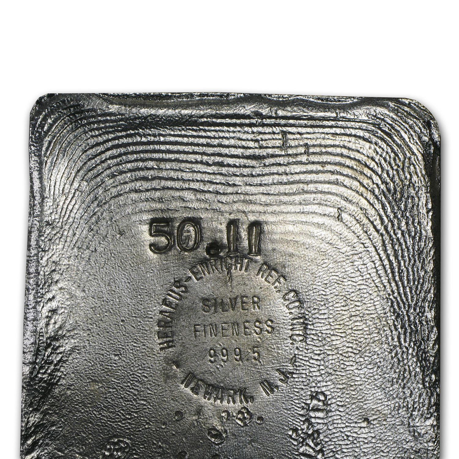 50.11 oz Silver Bar - Heraeus (Poured)