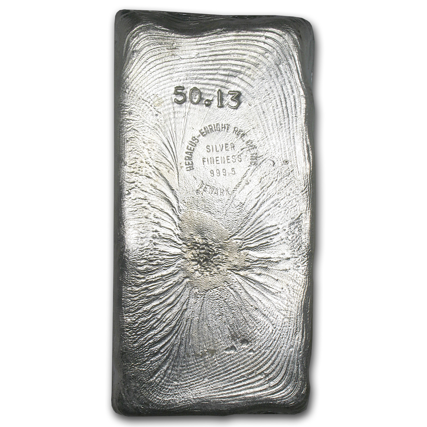 50.13 oz Silver Bar - Heraeus (Poured)