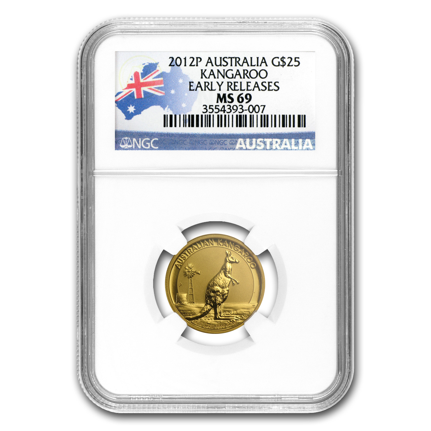 2012 Australia 1/4 oz Gold Kangaroo MS-69 NGC (Early Releases)