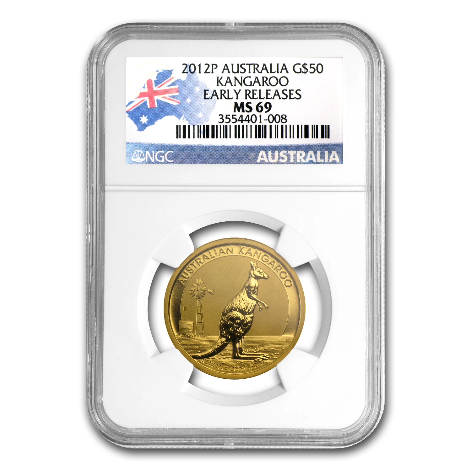 2012 Australia 1/2 oz Gold Kangaroo MS-69 NGC (Early Releases)