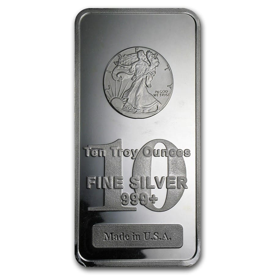 10 oz Silver Bar - Walking Liberty Design