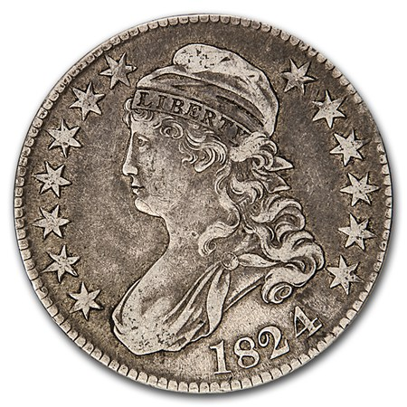 1824 1 Capped Bust Half Dollar Vf 35 Value Of Silver
