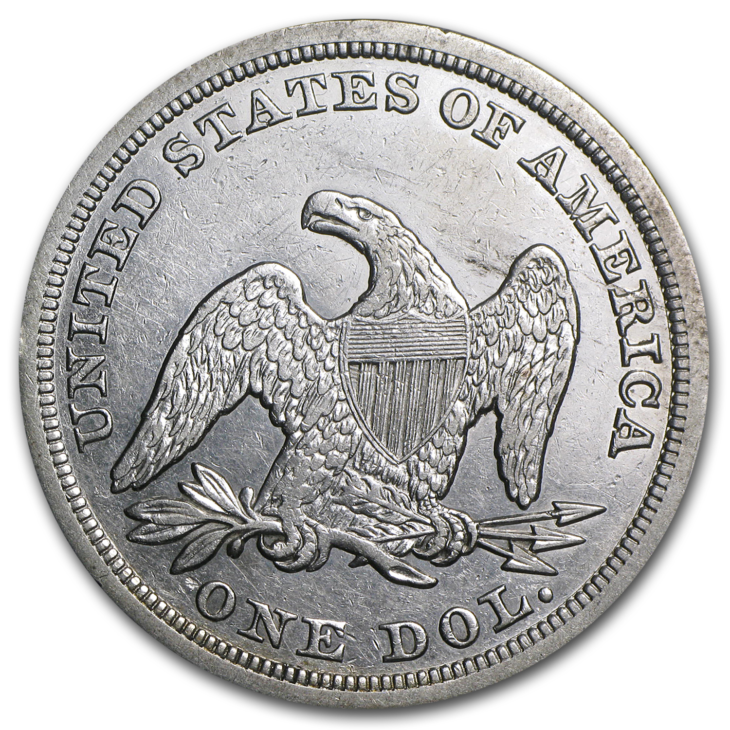 1840-1873 Liberty Seated Dollar AU