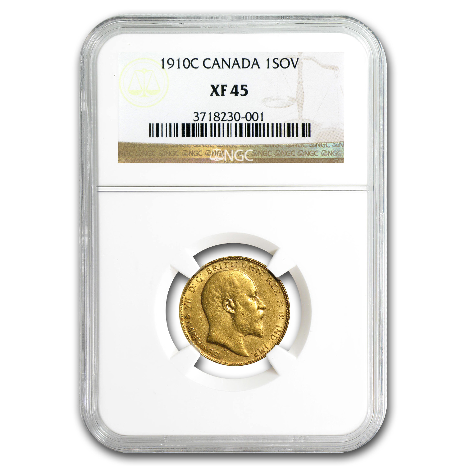 1910-C Canada Gold Sovereign Edward VII XF-45 NGC