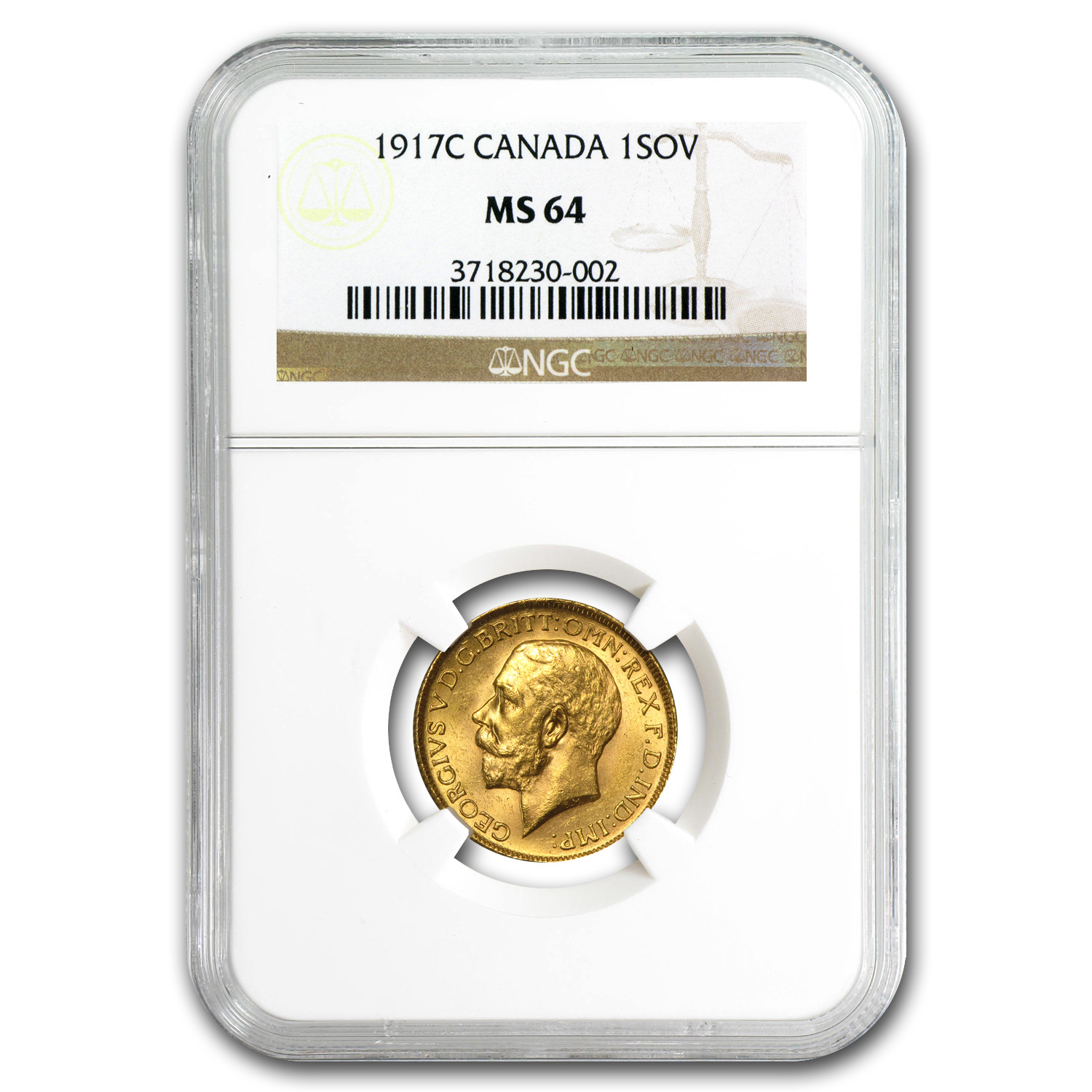 Canada 1917-C Sovereign Gold George V MS-64 NGC
