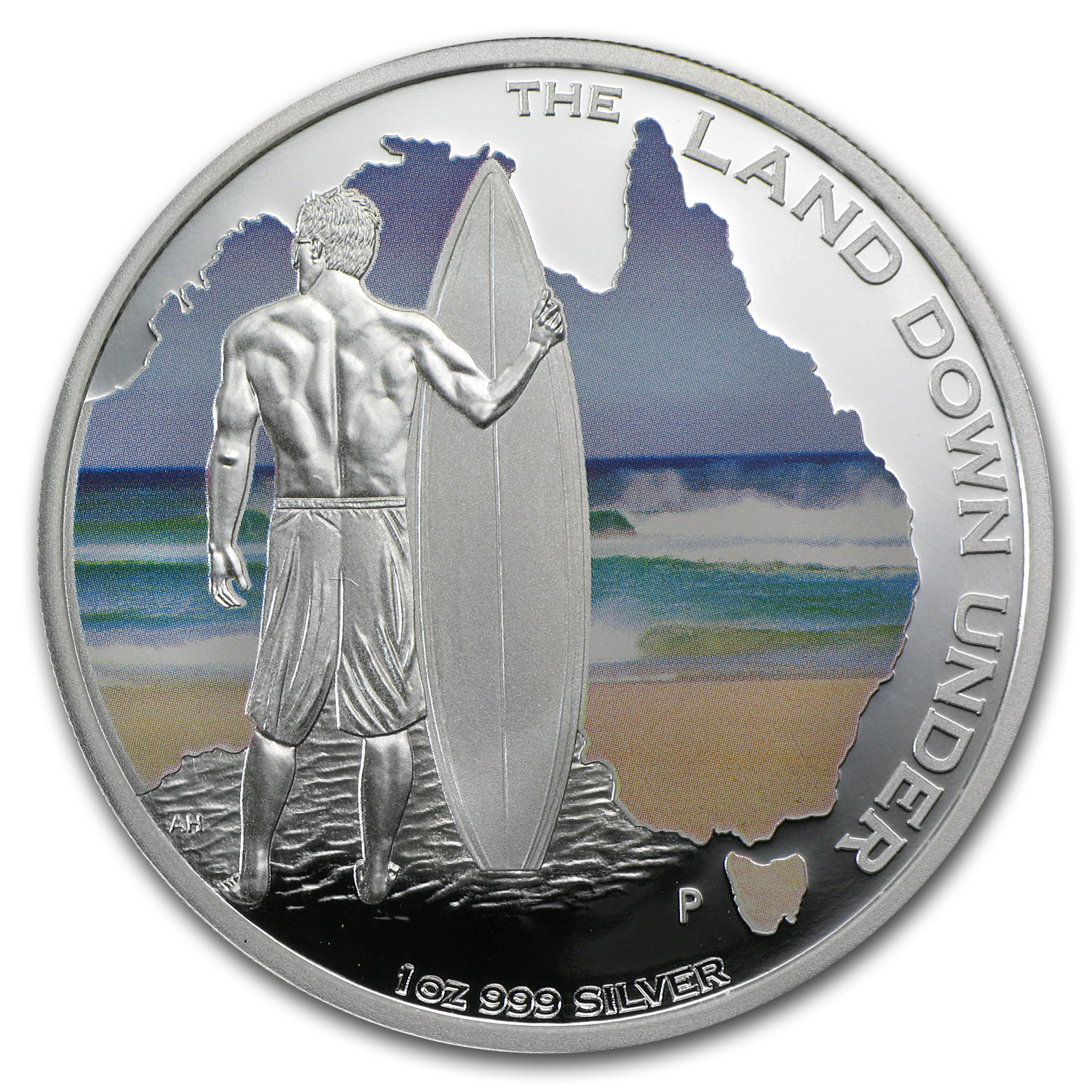 2013 1 oz Silver Australian The Land Down Under Proof (Surfing)