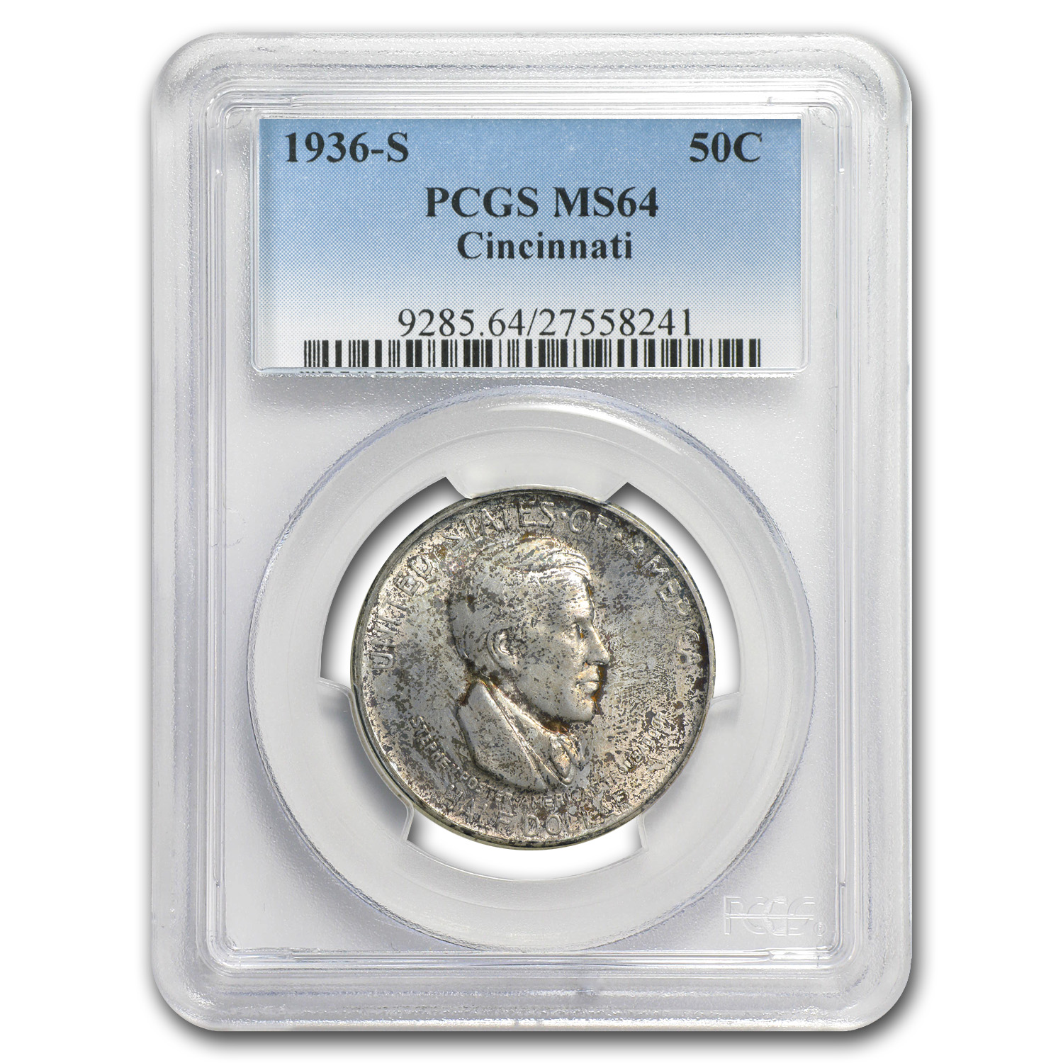 1936-P-D-S Set Cincinnati Half MS-64 PCGS (Original Toning)