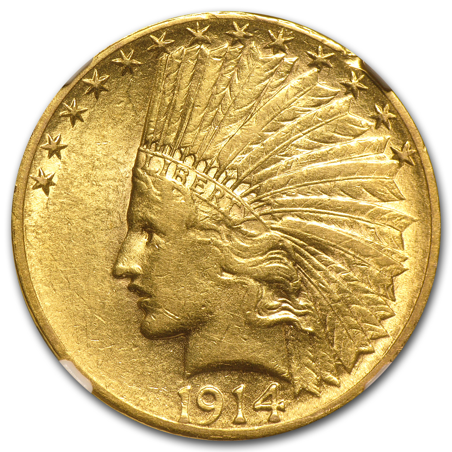 1914-S $10 Indian Gold Eagle AU-53 NGC
