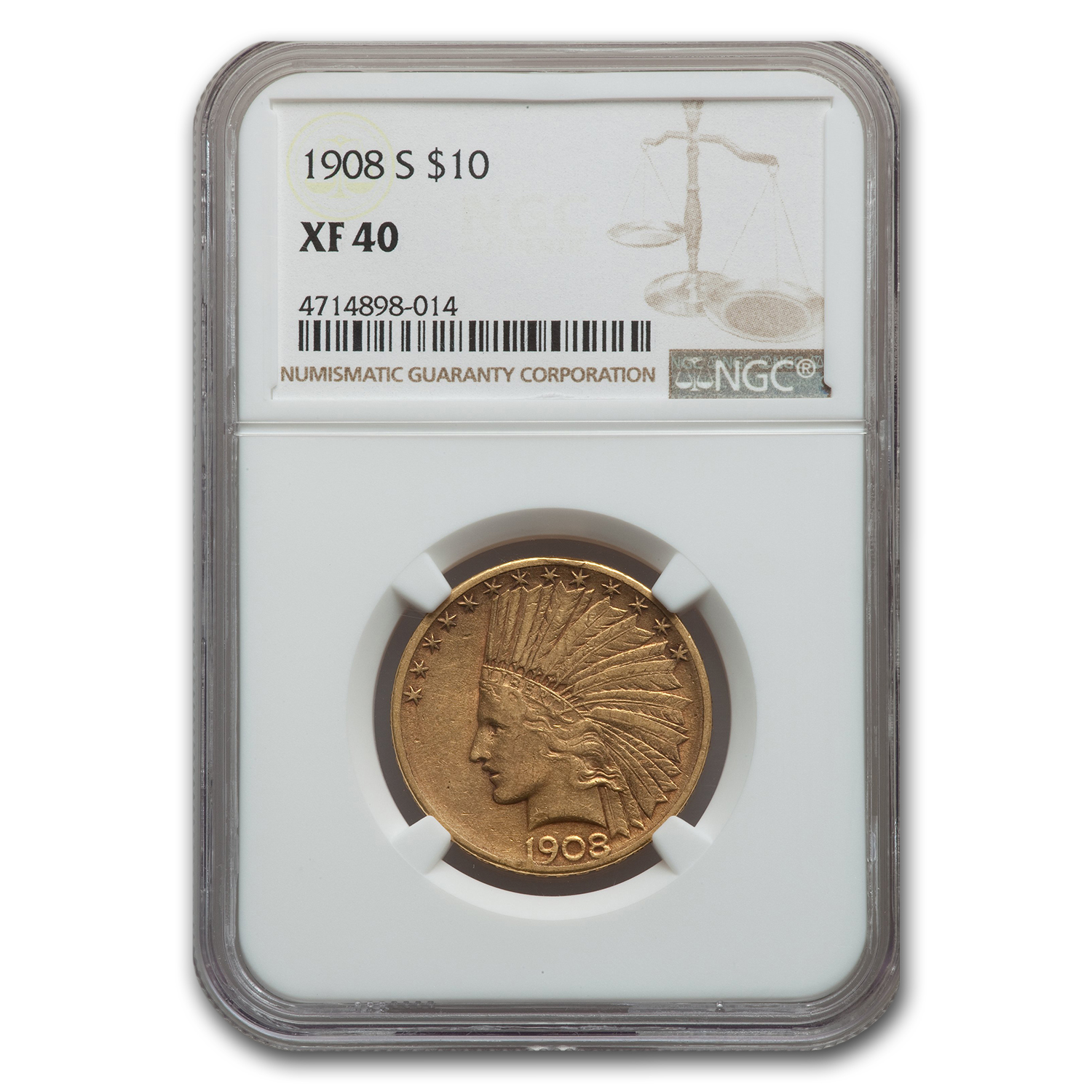 1908-S $10 Indian Gold Eagle - XF-40 NGC