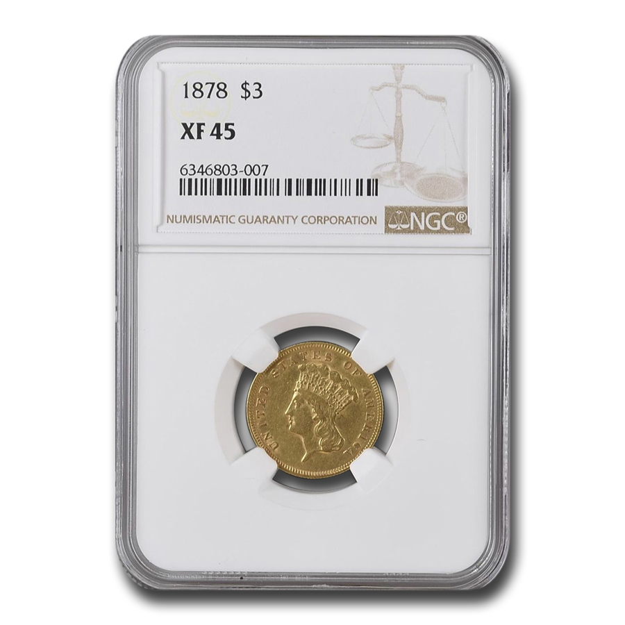 1878 $3 Gold Princess XF-45 NGC