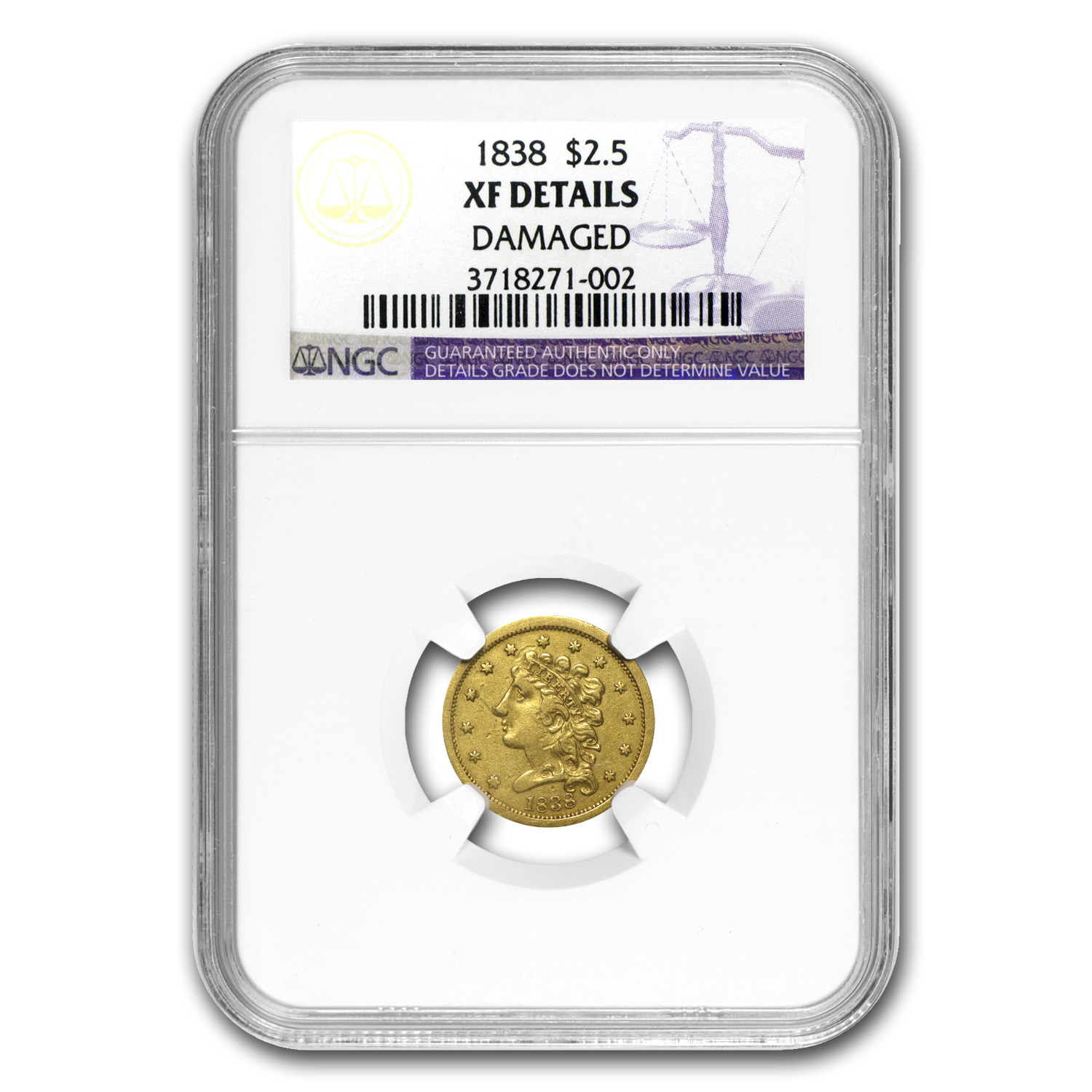 1838 $2.50 Gold Classic Head XF Details NGC (Cleaned)