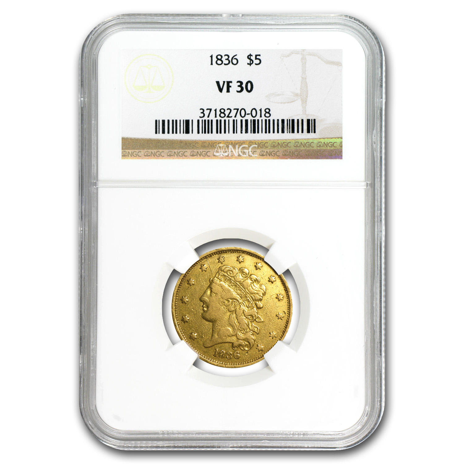 1836 $5 Gold Classic Head Half Eagle VF-30 NGC