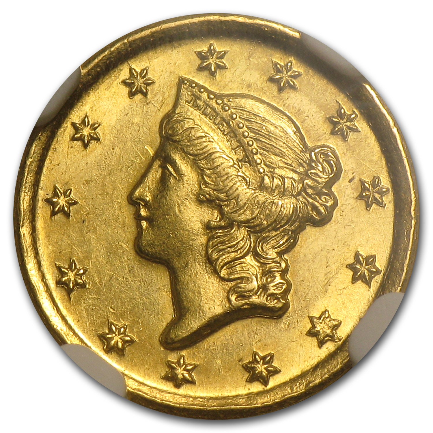 1849-O $1 Liberty Head Gold Open Wreath MS-62 NGC