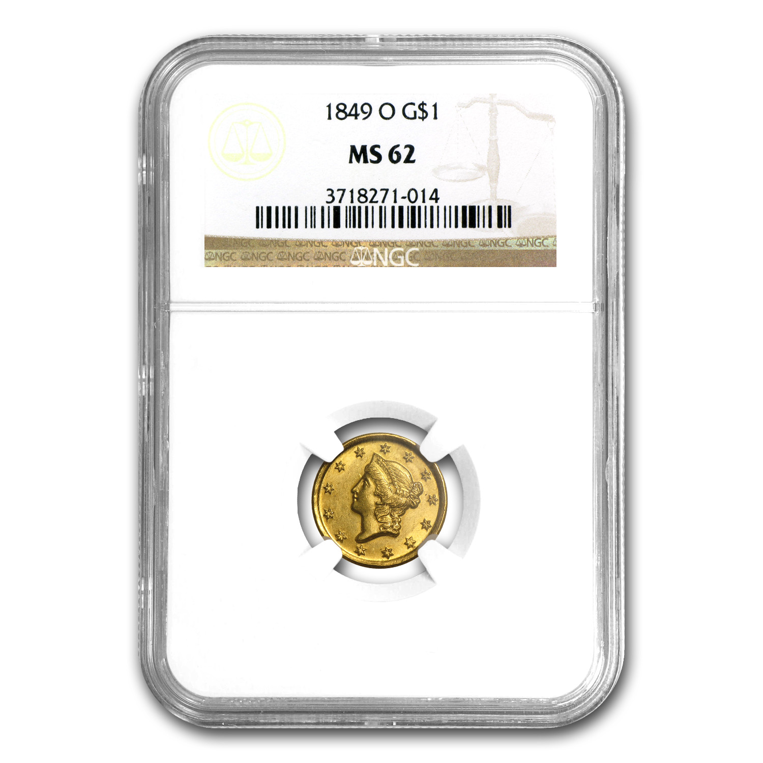 1849-O $1 Liberty Head Gold - Open Wreath - MS-62 NGC