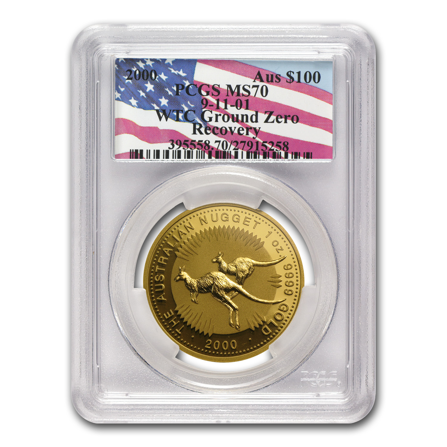 2000 1 oz Australian Gold Nugget MS-70 PCGS WTC Ground Zero