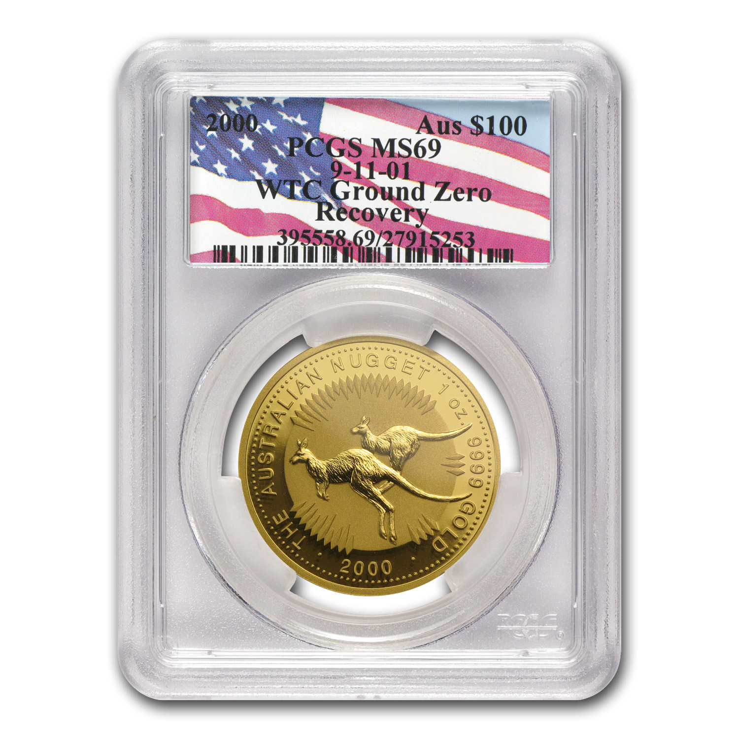 2000 1 oz Australian Gold Nugget MS-69 PCGS WTC Ground Zero