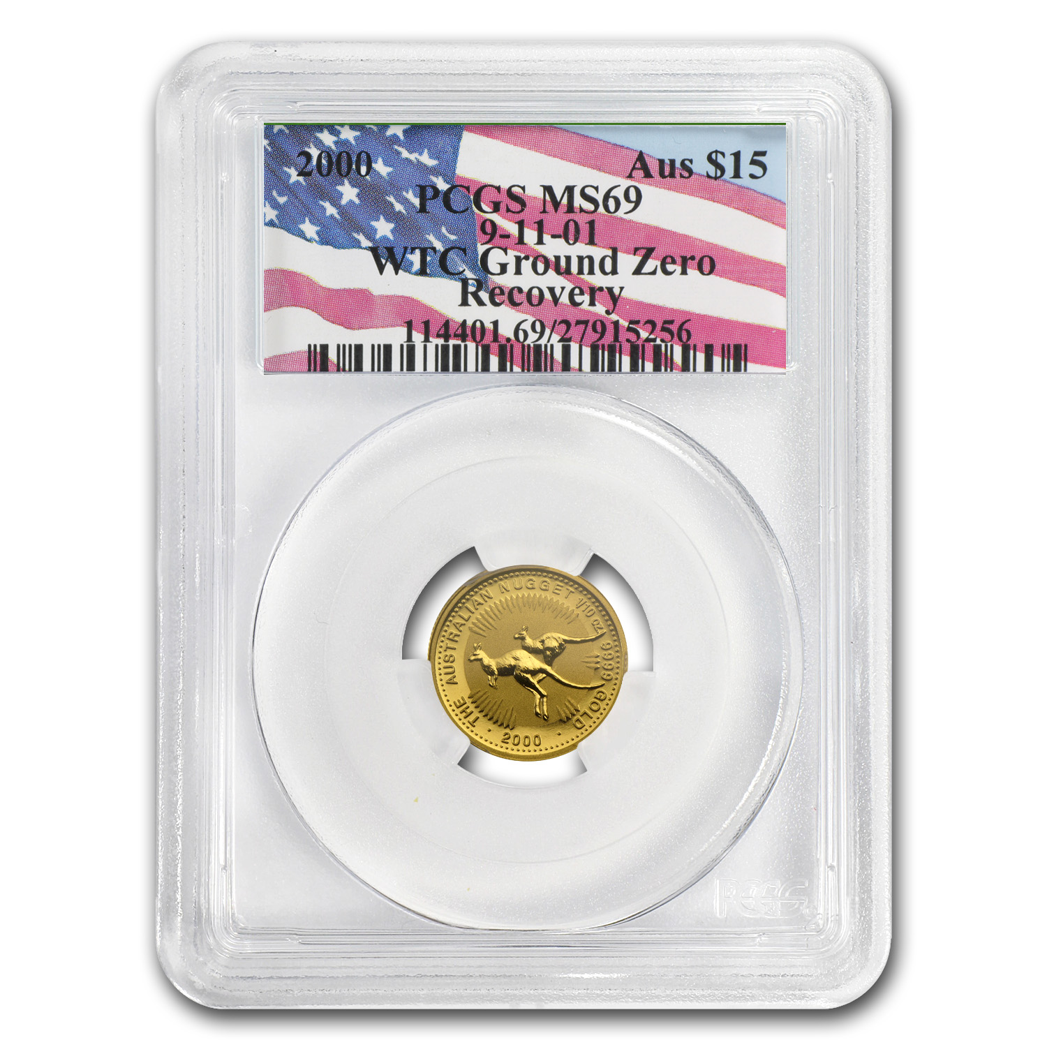 2000 Australia 1/10 oz Gold Nugget MS-69 PCGS (WTC Ground Zero)