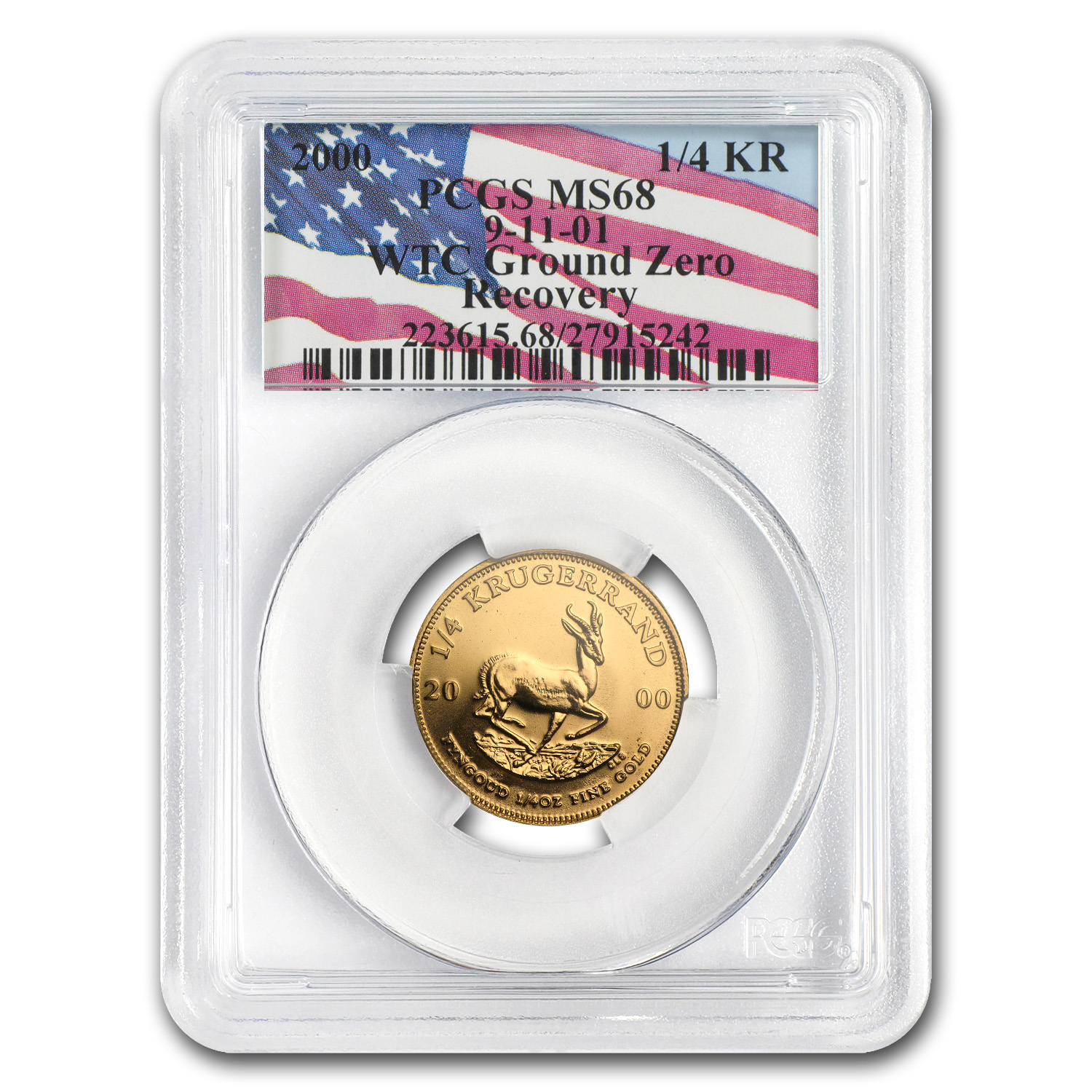 2000 South Africa 1/4 oz Gold Krugerrand MS-68 PCGS (WTC)
