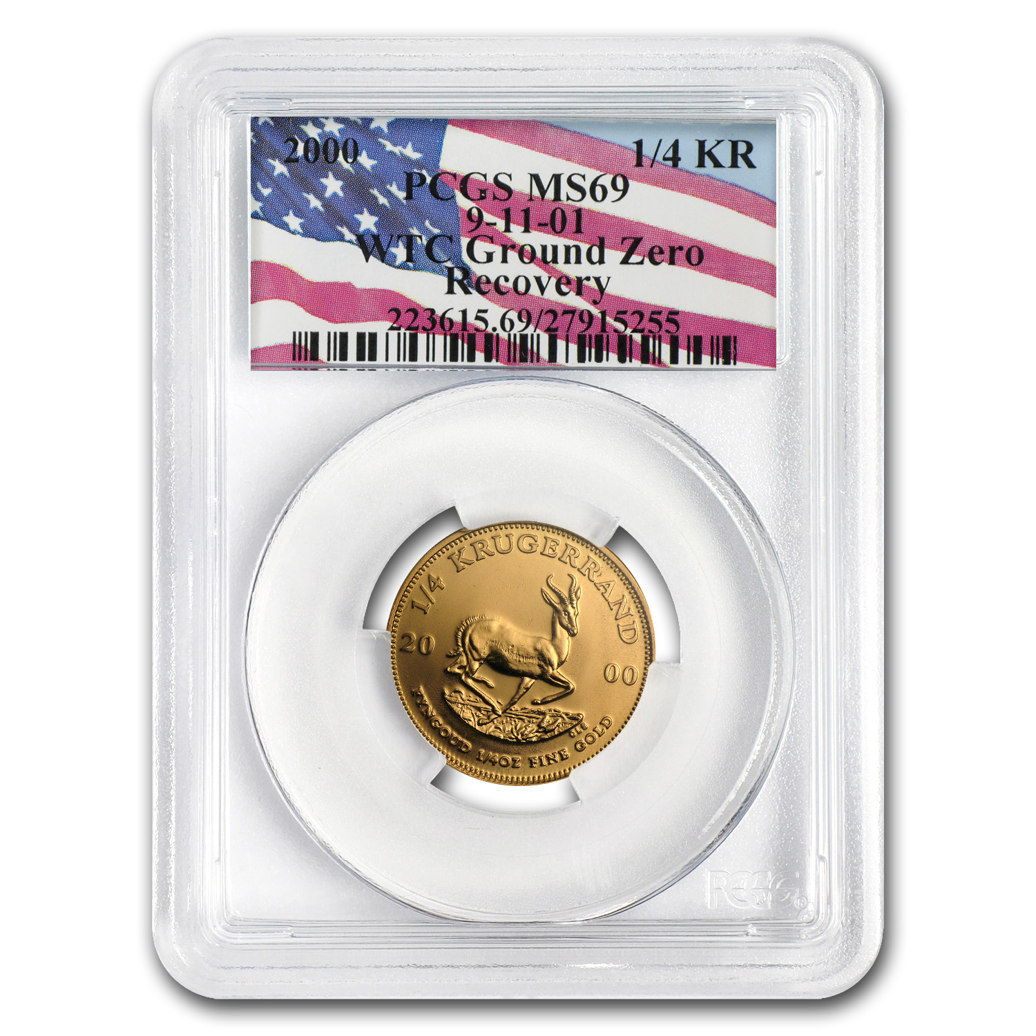 2000 1/4 oz Gold South African Krugerrand PCGS MS-69 (WTC)
