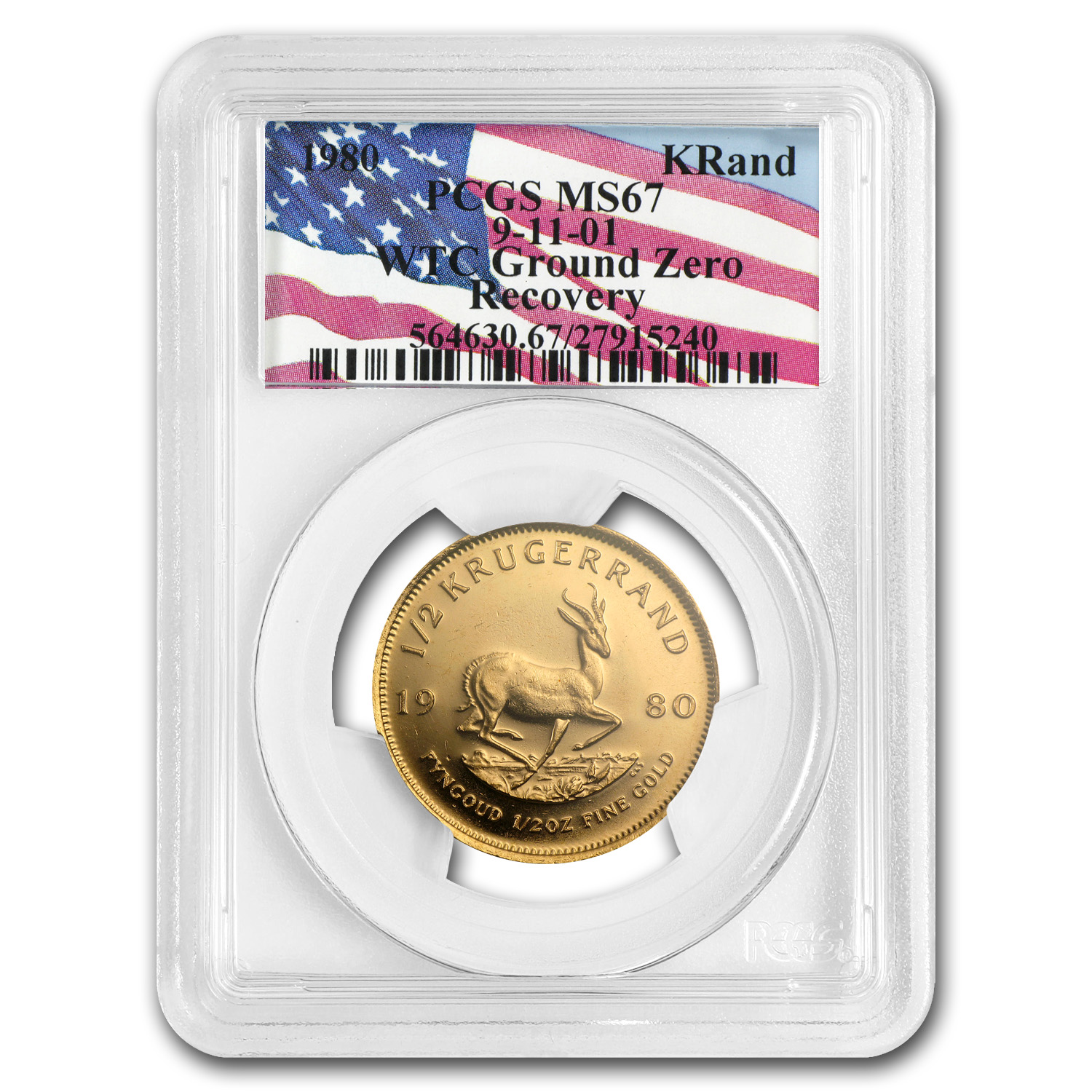1980 1/2 oz Gold South African Krugerrand PCGS MS-67 (WTC)