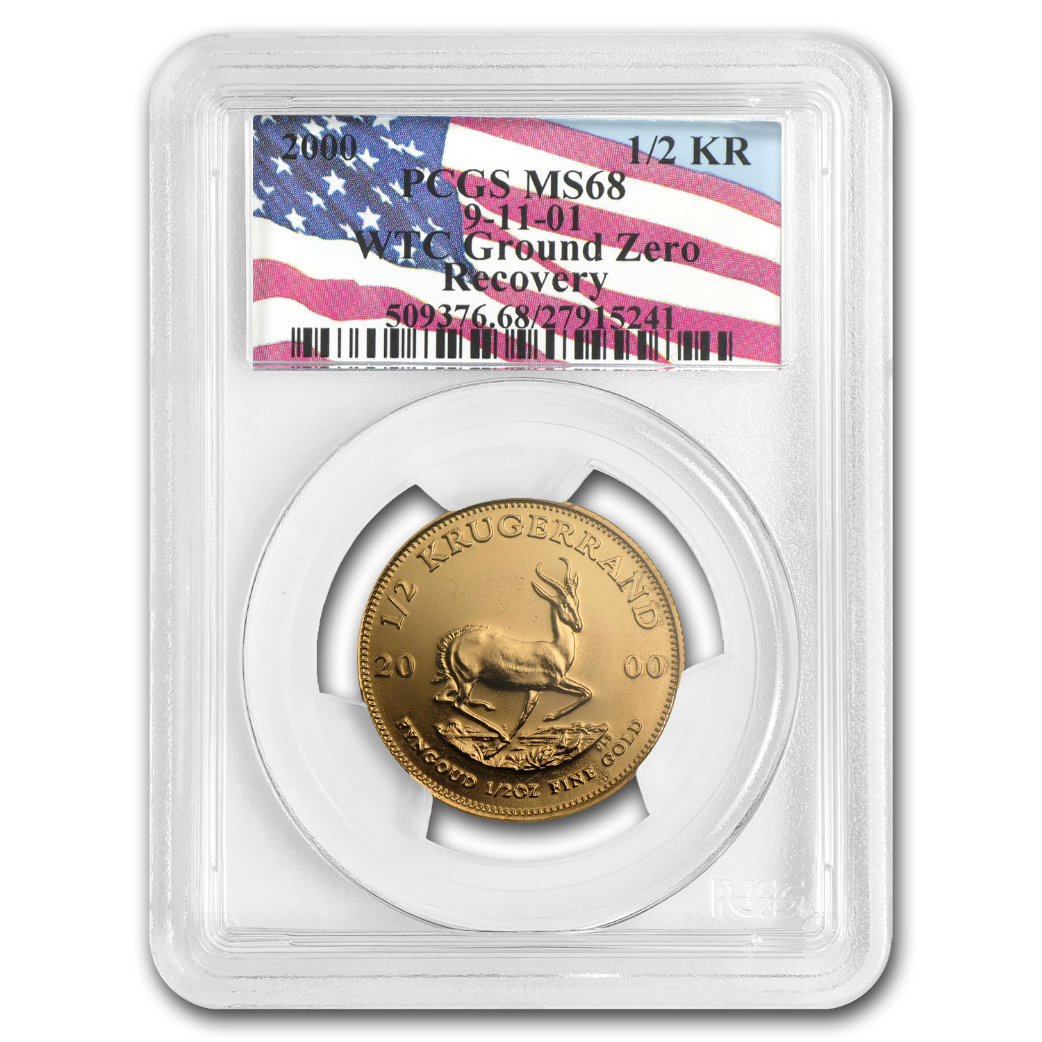 2000 South Africa 1/2 oz Gold Krugerrand MS-68 PCGS (WTC)