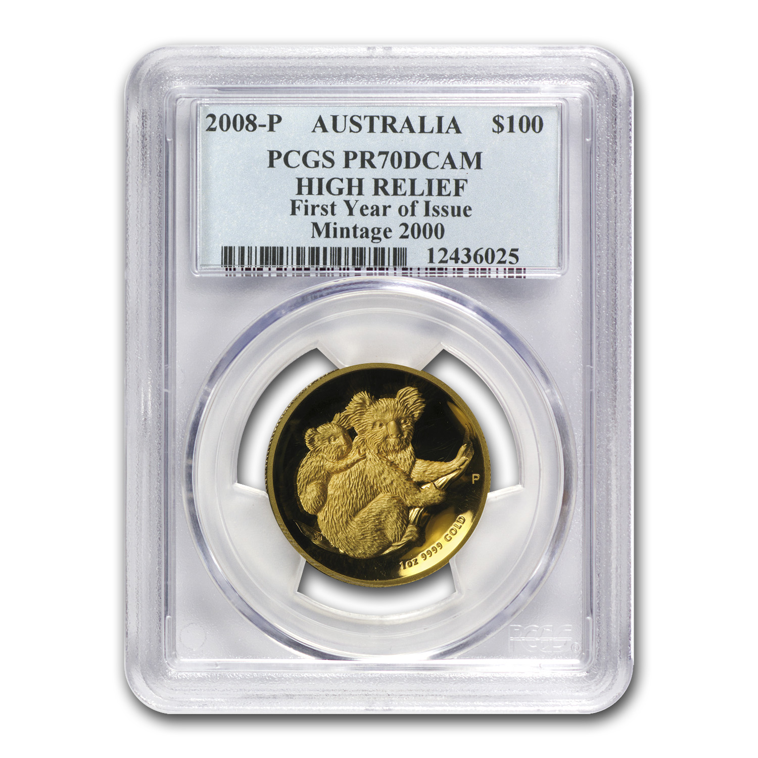 2008-P 1 oz Australian Gold Koala PR-70 PCGS (High Relief)