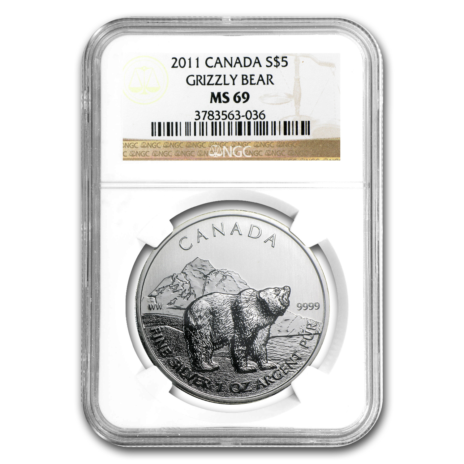 2011 1 oz Silver Canadian Wildlife Series - Grizzly MS-69 NGC