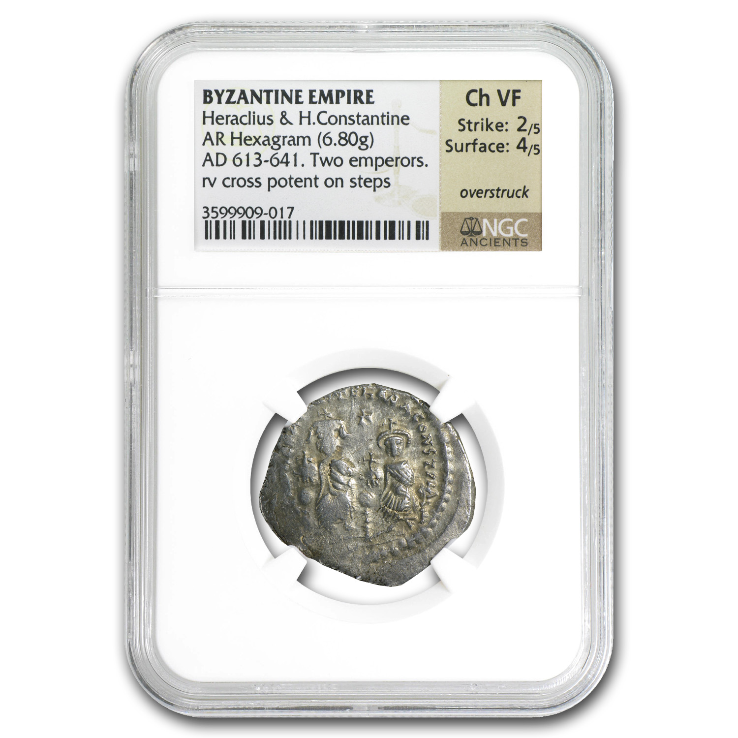 Byzantine Silver of HeracIius & H.Const. (613-641 AD) NGC-ChVF